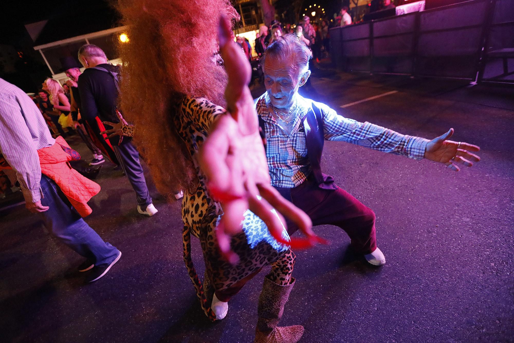 WEST HOLLYWOOD, CA Ð OCTOBER 31, 2018 - - Dolly Boyd, center, dances with Abbas Hashei, 74, right,