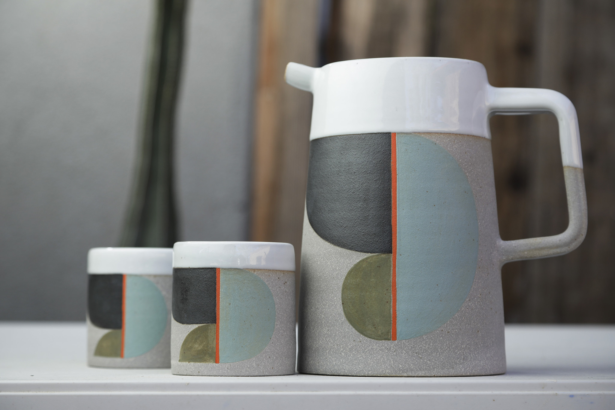 WOODLAND HILLS, CA -- OCTOBER 09, 2018: Pitcher and cups by ceramist Pawena Thimaporn. Her products