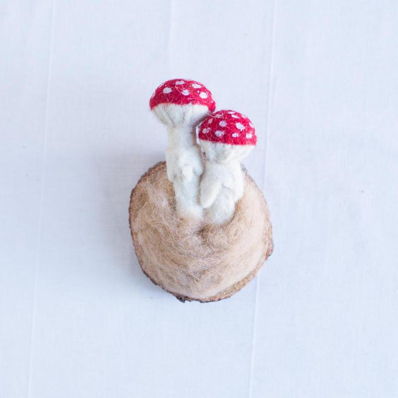 Felted mushroom mount