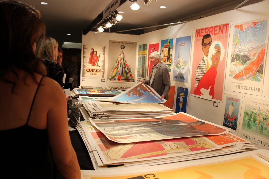 An international array of vintage posters showcased at the Chicago Center for the Print's booth.
