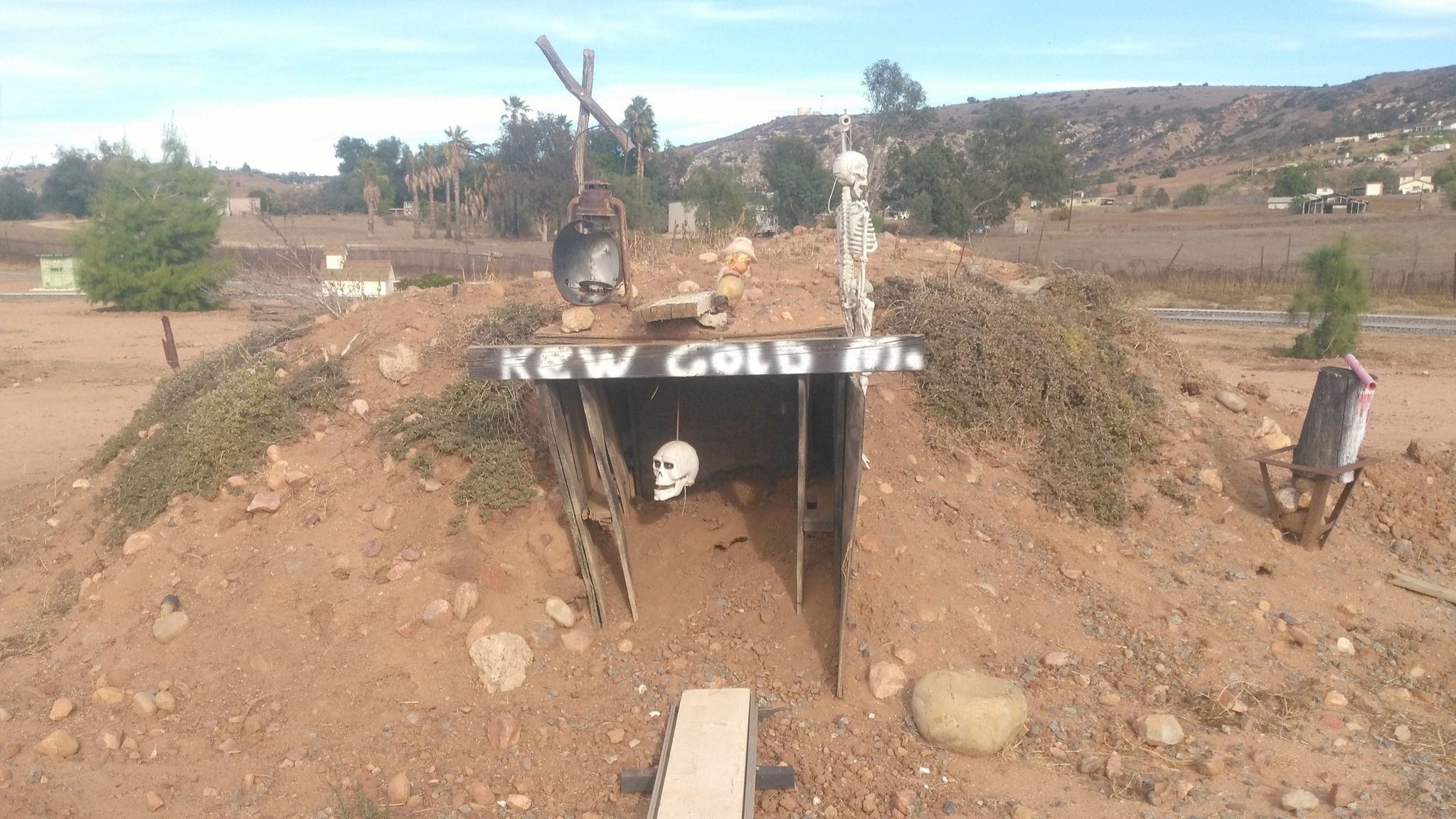 A squirrel makes its home in the miniature K&W Gold Mine named for Russell Green's grandsons Kaleb and Wyatt.