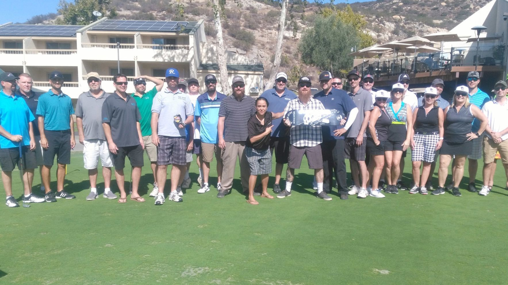 About 30 golfers prepare to start the Ramona Skatepark Golf Tournament held as a fundraiser at San Vicente Golf Resort on Nov. 3. About $250,000 has been raised toward the goal.