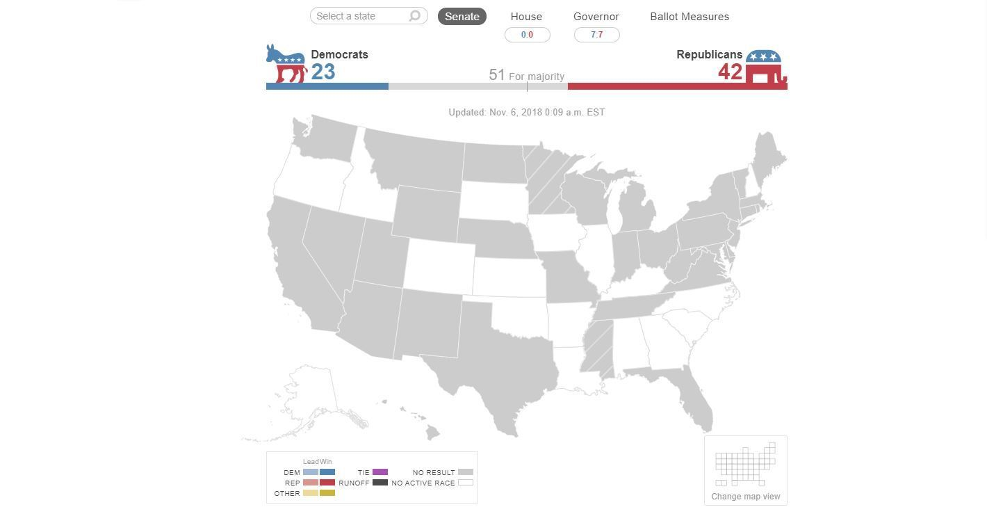 Balance of Power: 2018 U.S. General Election Results Map - Sun Sentinel