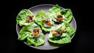 Spicy uni lardo sushi lettuce cups
