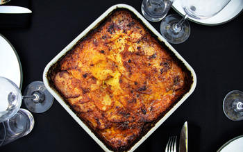Triple cheese curried cauliflower gratin