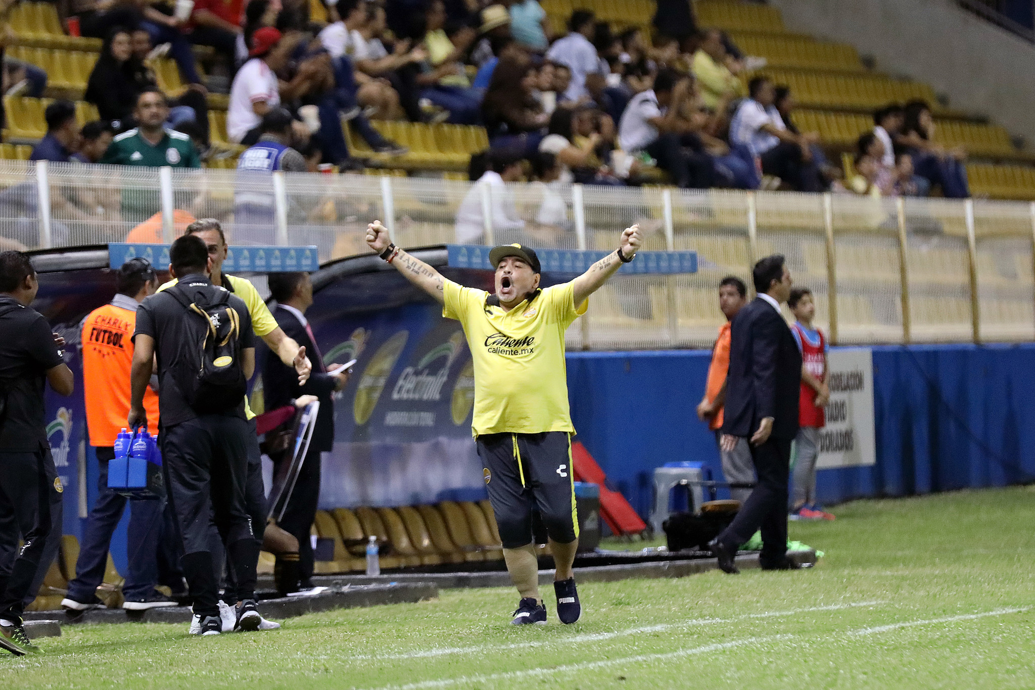 CULIACÁN, SINALOA — SATURDAY, OCTOBER 27, 2018: Diego Maradona, coach of Dorados of Sinaloa, raises