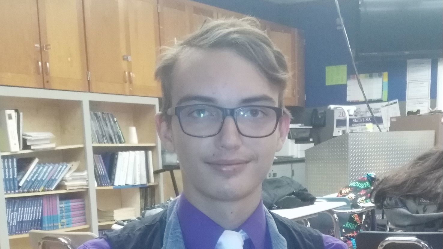 Ramona High sophomore Cody Teichert, 15, plans to use the welding skills he's learning at Ramona High to make and repair cars the way his teacher, Matthew Funkhouser, does.