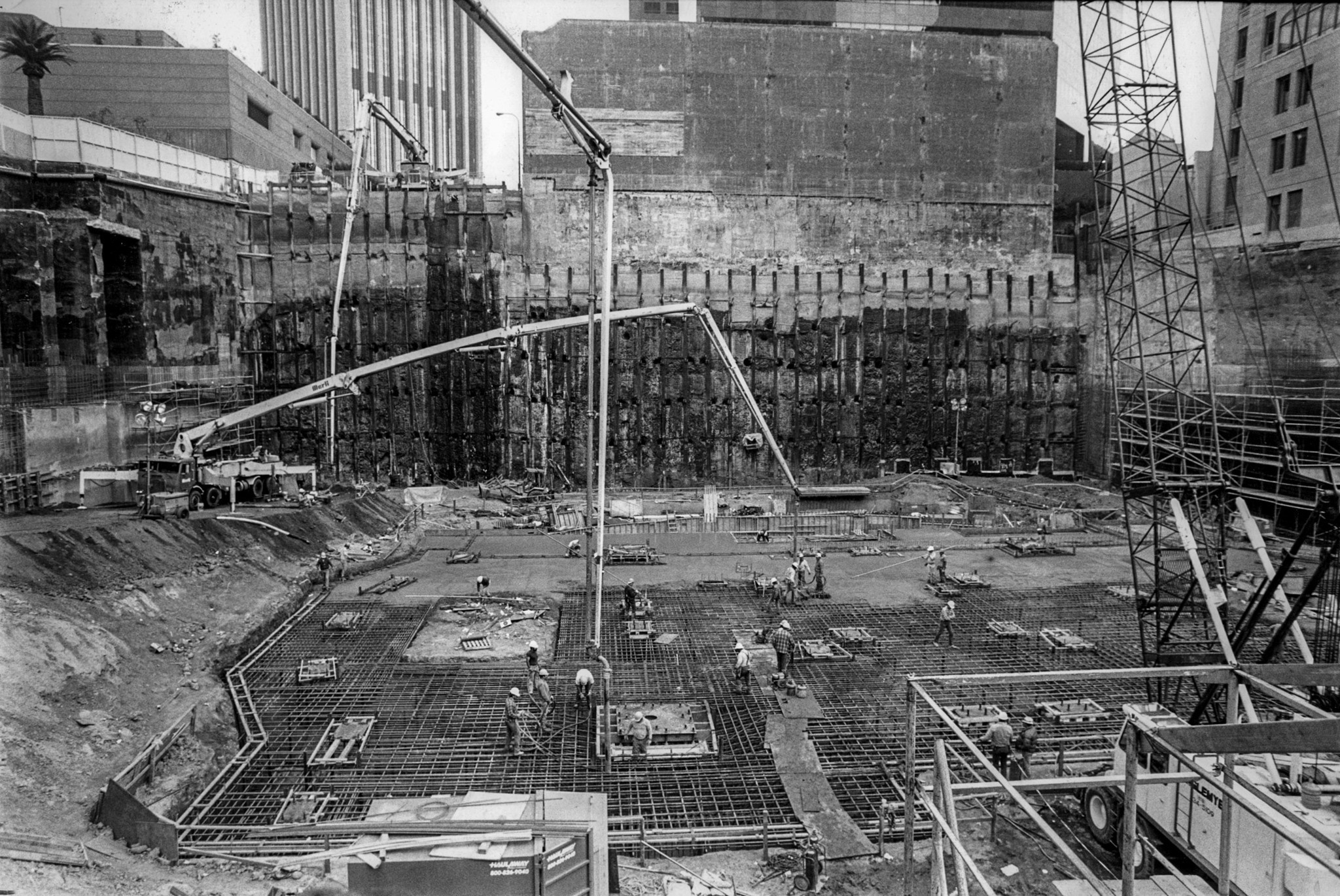 Jan. 30, 1988: Construction of the Library Tower begins with a 15 hour concrete pour of the foundat