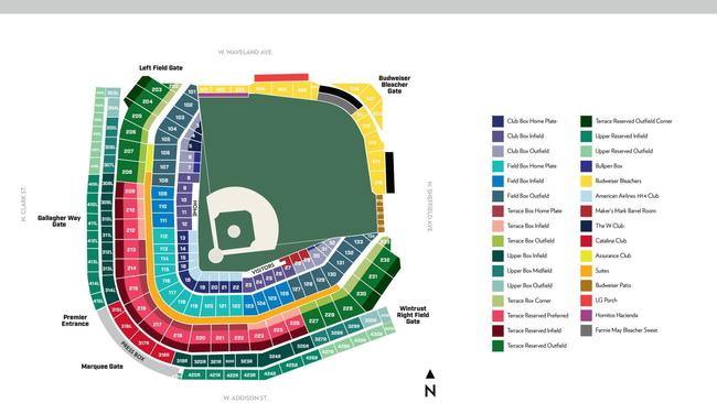 Wrigley Field Seating Map Seating Chart Wrigley Field   Wrigley field seating chart and