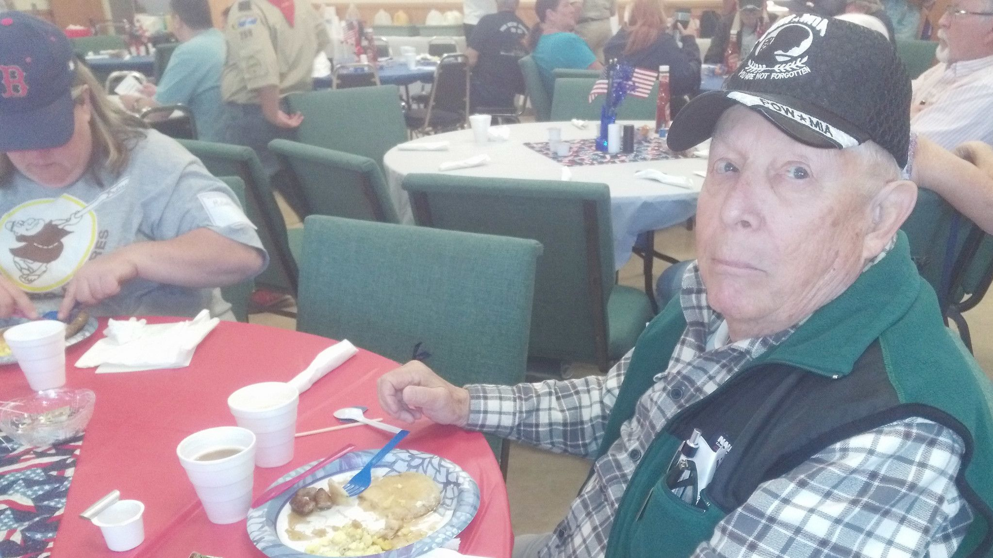U.S. Navy veteran Larry Untiedt enjoys a pancake breakfast at the Fifth Annual Operation Flapjacks. Untiedt served as a seaman during the Vietnam War from 1958-62.