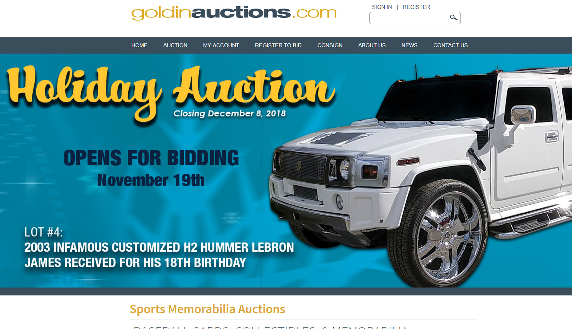 89a9c89e9cb7 ... Hummer H2 that LeBron James received as an 18th birthday present is up  for auction. LA Times - 16 35 PM ET November 16