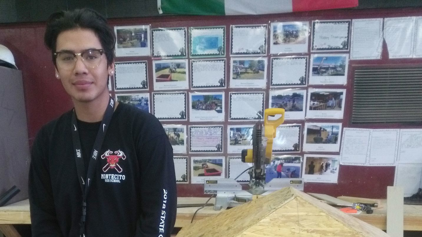 Montecito High School senior Adrian Garcia, 18, is preparing to participate in the regional SkillsUSA competition. He placed third in the Carpentry category last year.