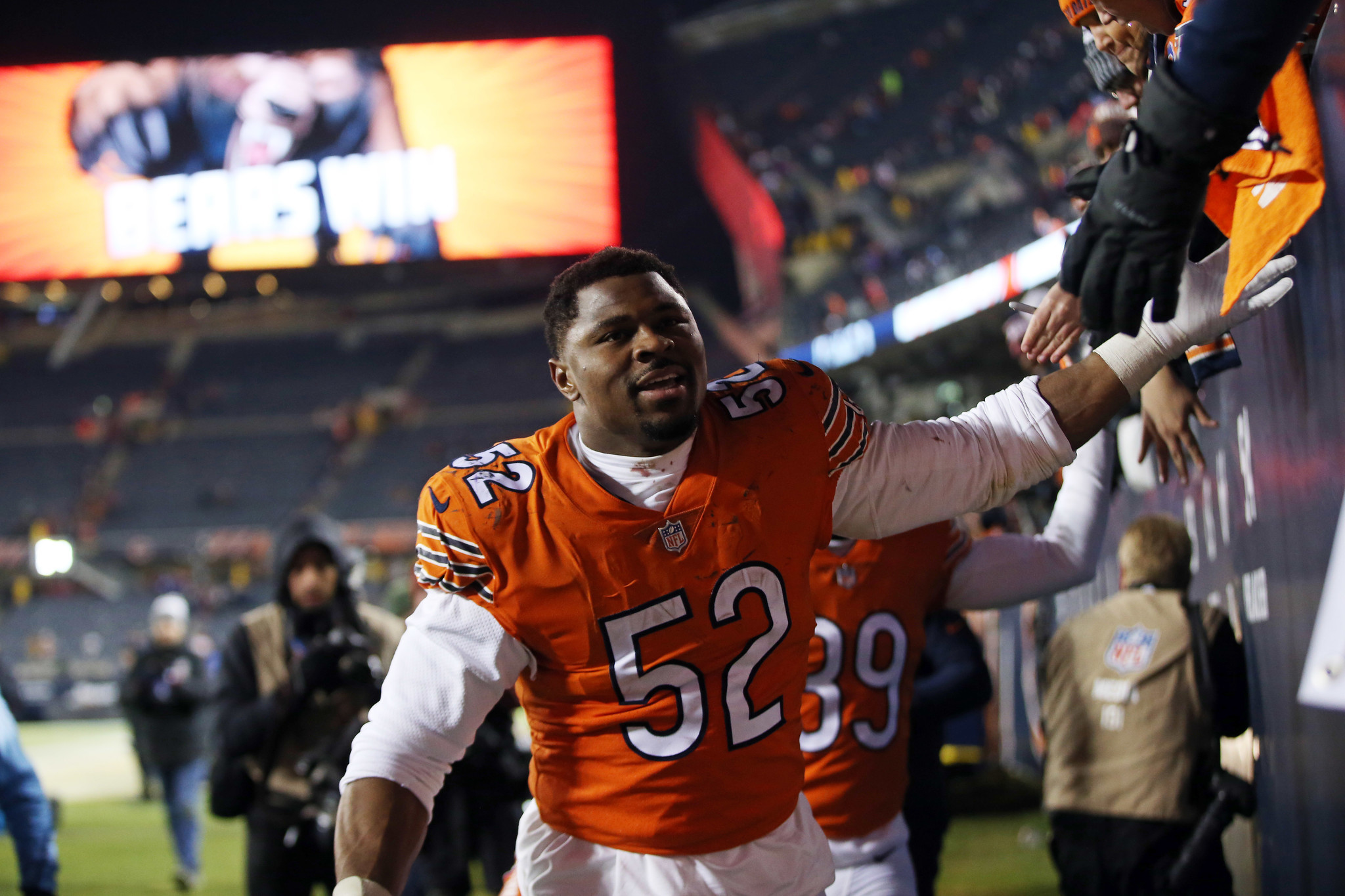 b120875cda5 Khalil Mack greets fans after a November win over the Vikings. (Brian  Cassella/Chicago Tribune)
