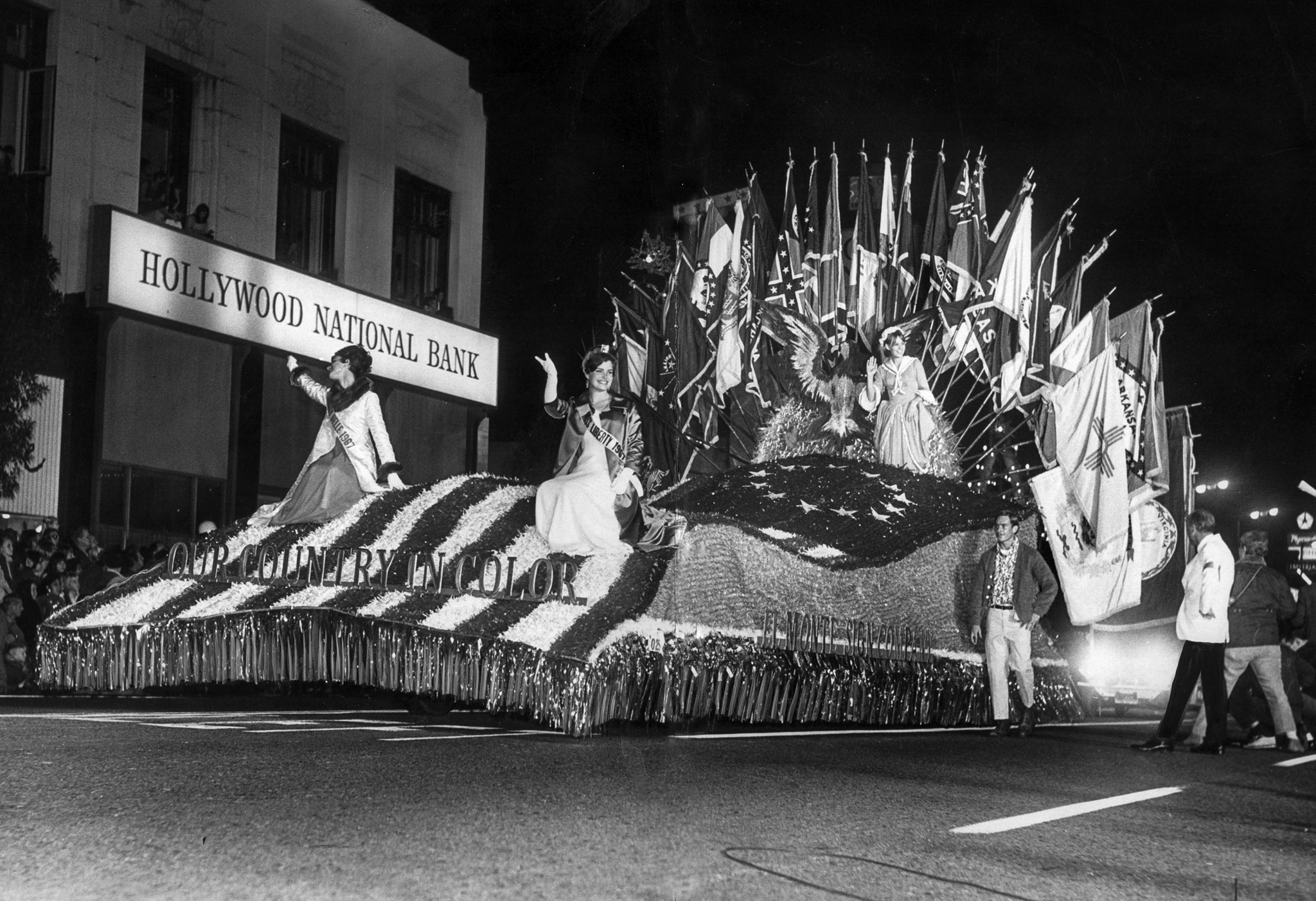 "Nov. 22, 1967: The ""Our Country in Color"" float, sponsored by the El Monte Sign Company, in the Holl"
