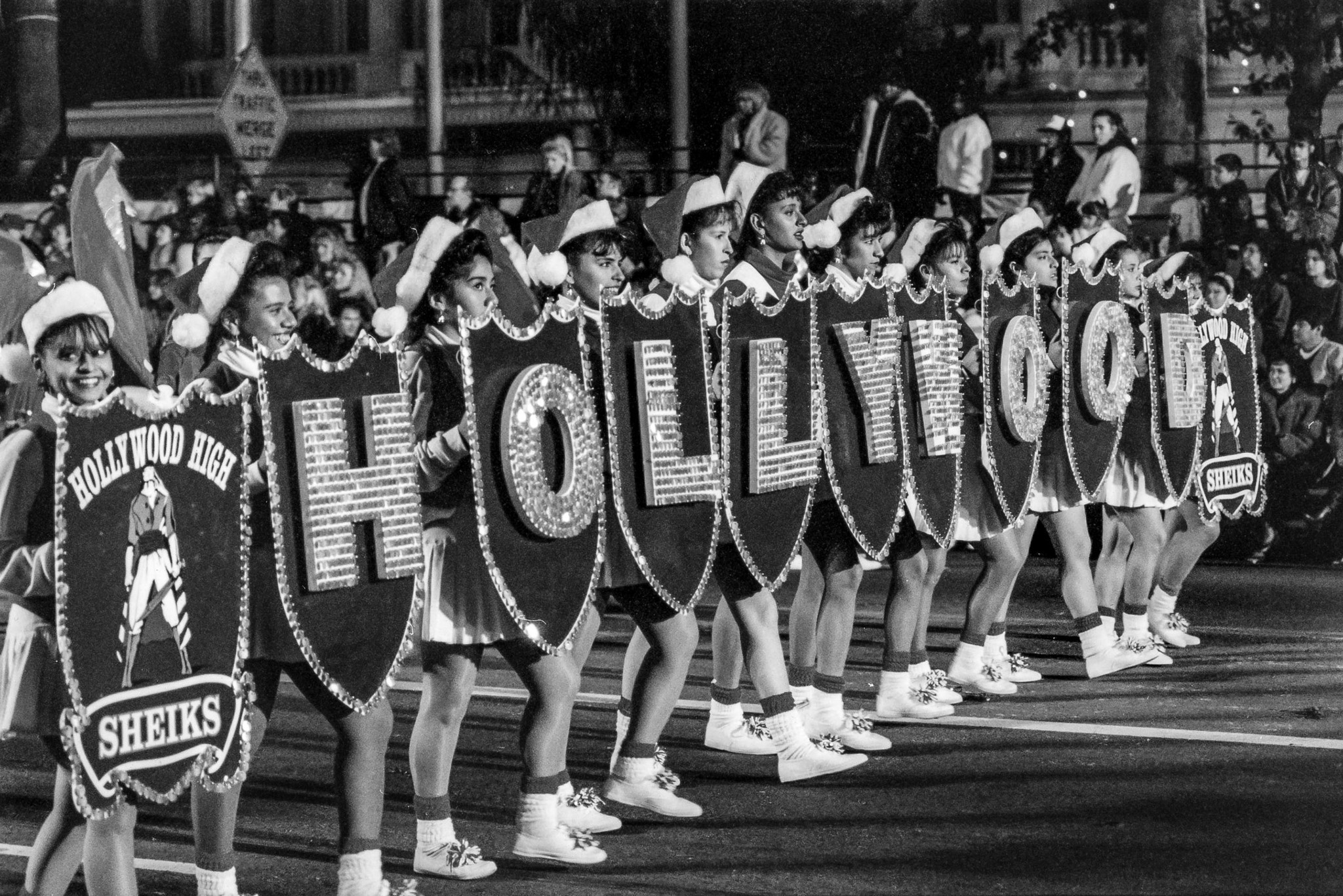 Dec. 1, 1991: Members of the Hollywood High School band march in 60th annual Hollywood Christmas Par