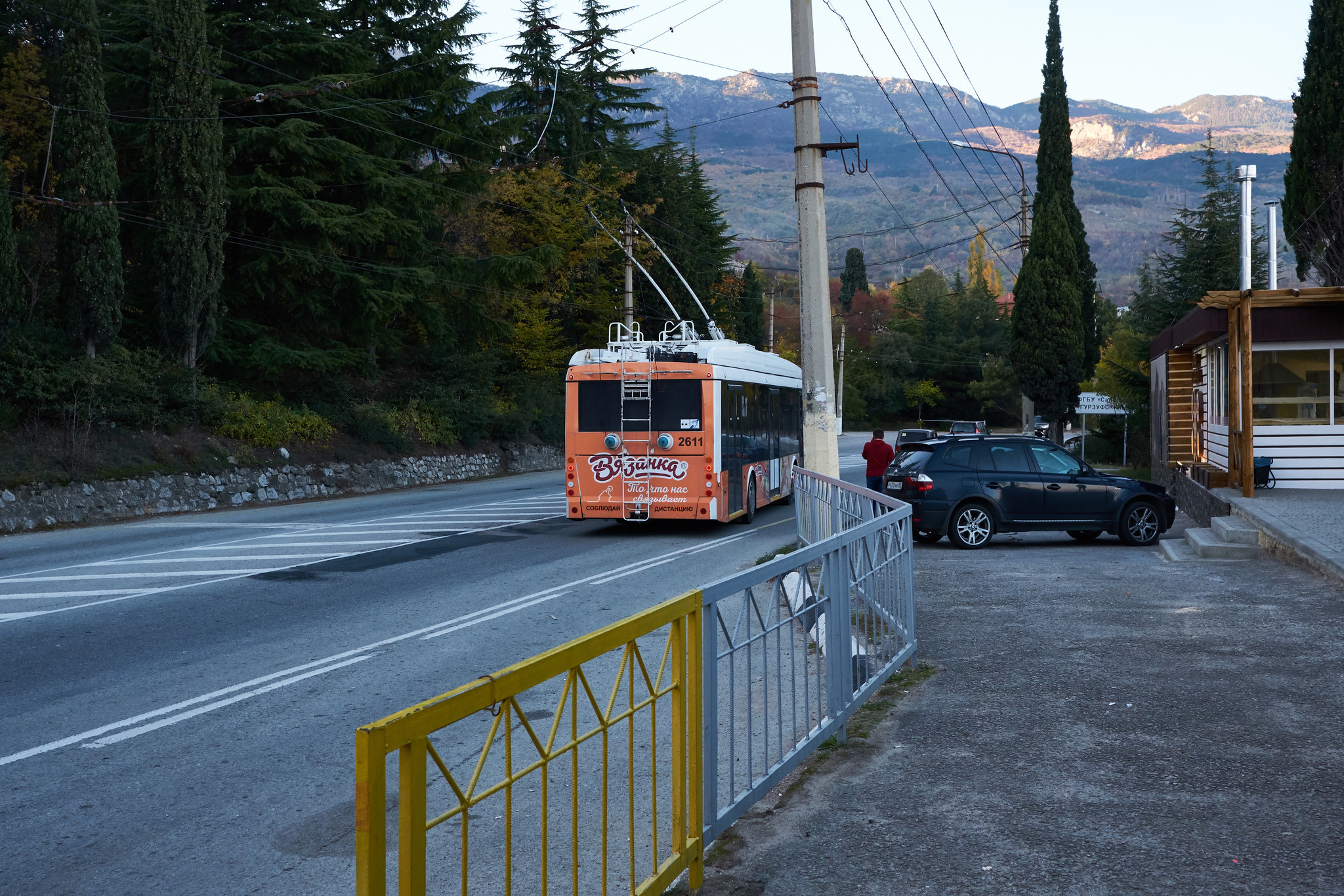 The trolleybus no 52 is seen leaving the bus stop near Gurzuf in the Crimea. October 31st 2018.