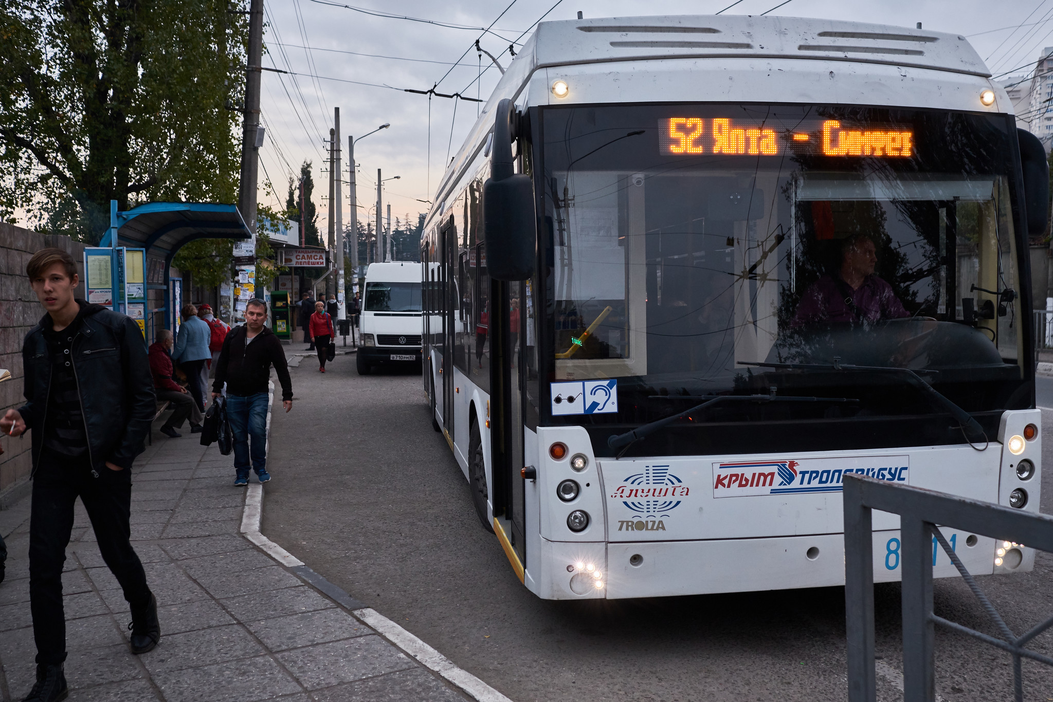 The busstop in Alushta one of the stops for of the trolleybus that goes from Yalta to Simferopol, t
