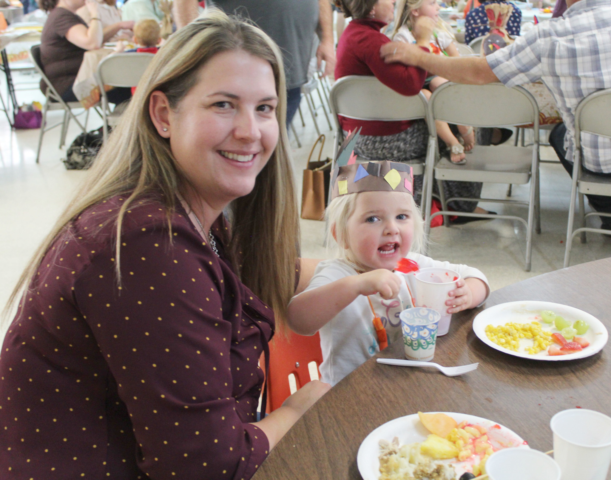 Ashlie Day shares the feast with 2-year-old daughter Scarlett.