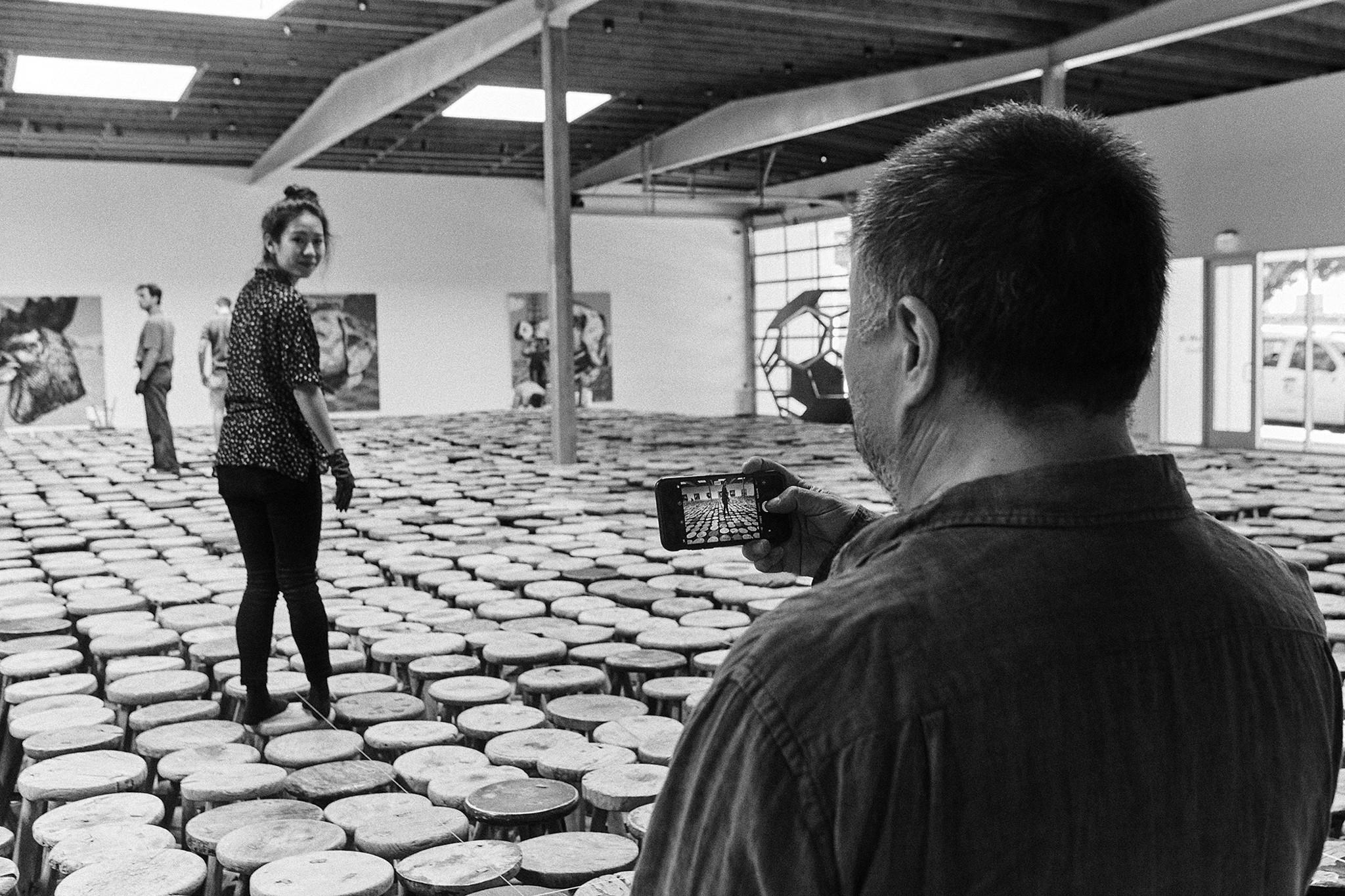 The Jeffrey Deitch gallery is showcasing Ai Weiwei's Stools (2013)