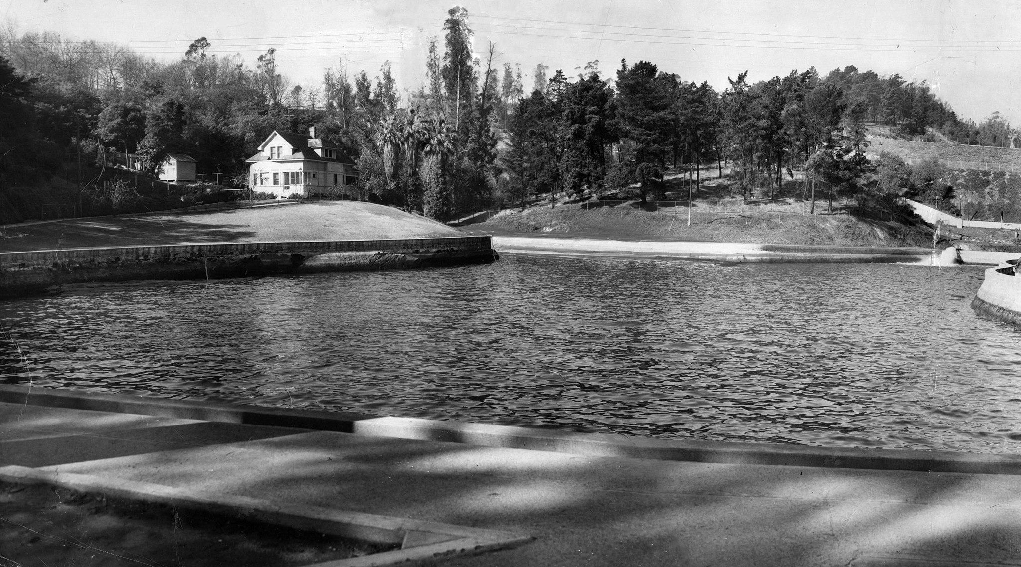Dec. 22, 1949: View of caretaker's home at Buena Vista Reservoir in Elysian Park, alongside the Ar