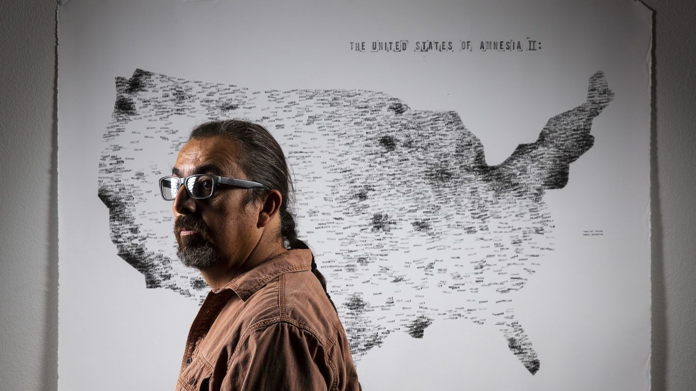 ANZA, CALIF. - NOVEMBER 26: Native American Artist Gerald Clarke Jr. poses for a portrait with his a