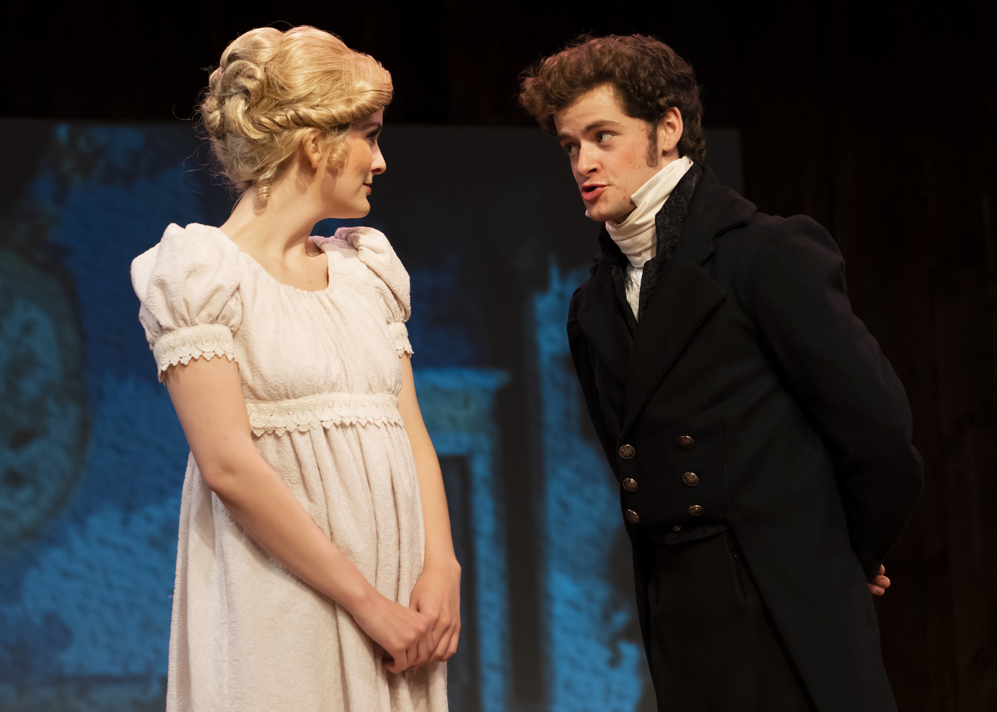 "Mandy Foster is Emma and Coleton Ray is Mr. Elton in ""Jane Austen's Emma: The Musical"" at Chance Theater."