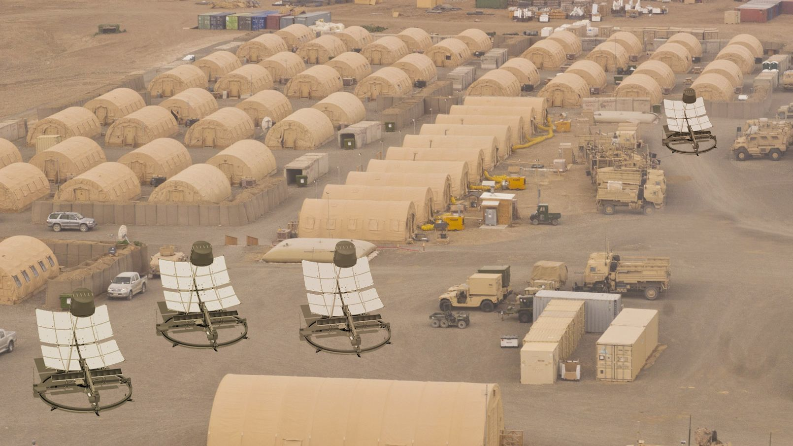 This rendering shows future potential uses of the Helia solar storage device at an Army Forward Operating Base.