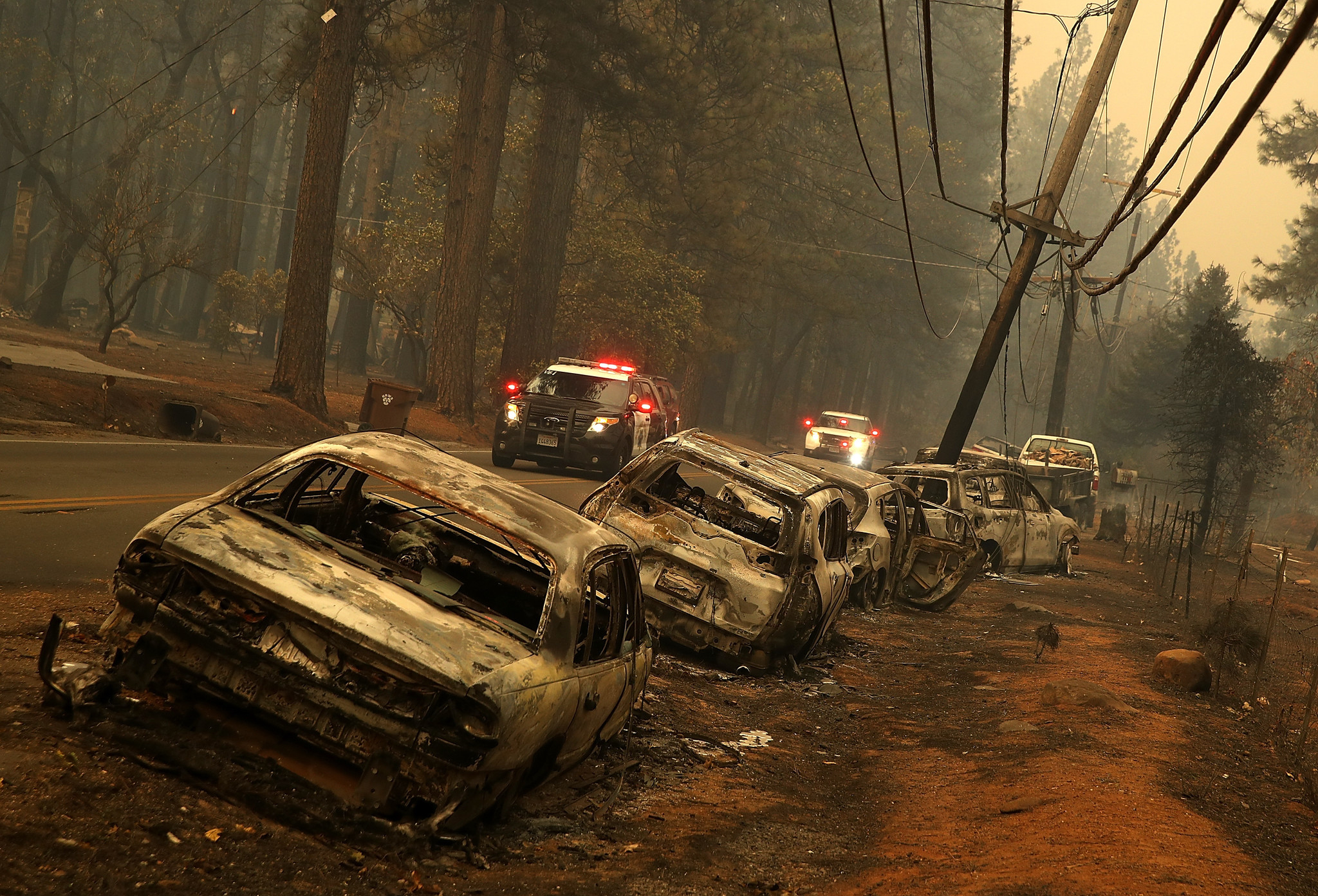 Abandoned cars charred by fire