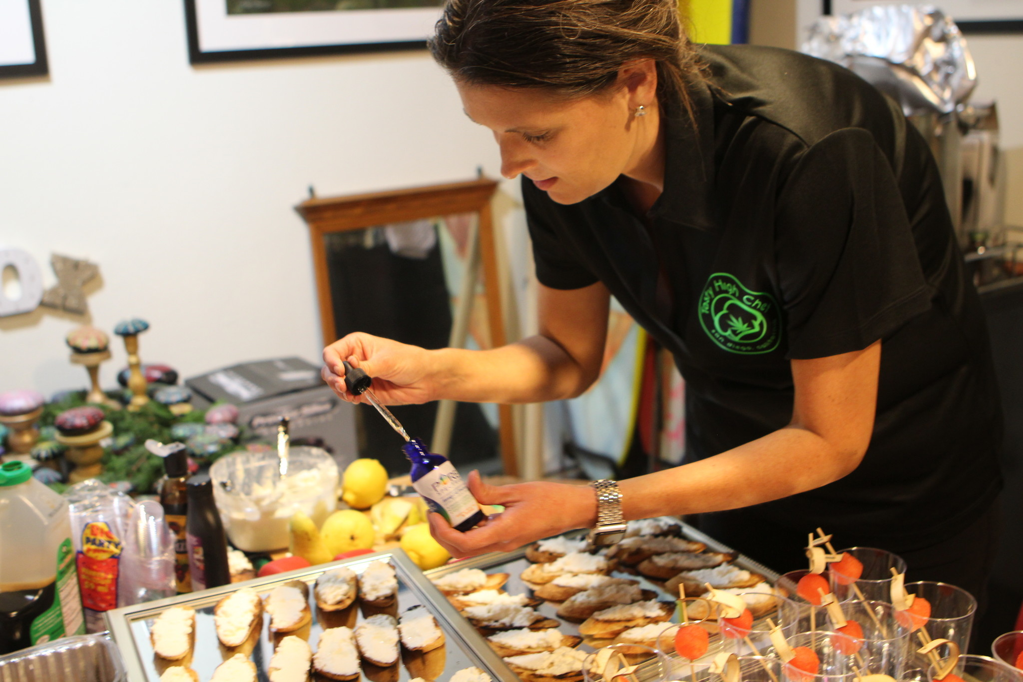 Claire adds 50 ml of Pure Spectrum CBD oil to each serving of the Ricotta Crustini.