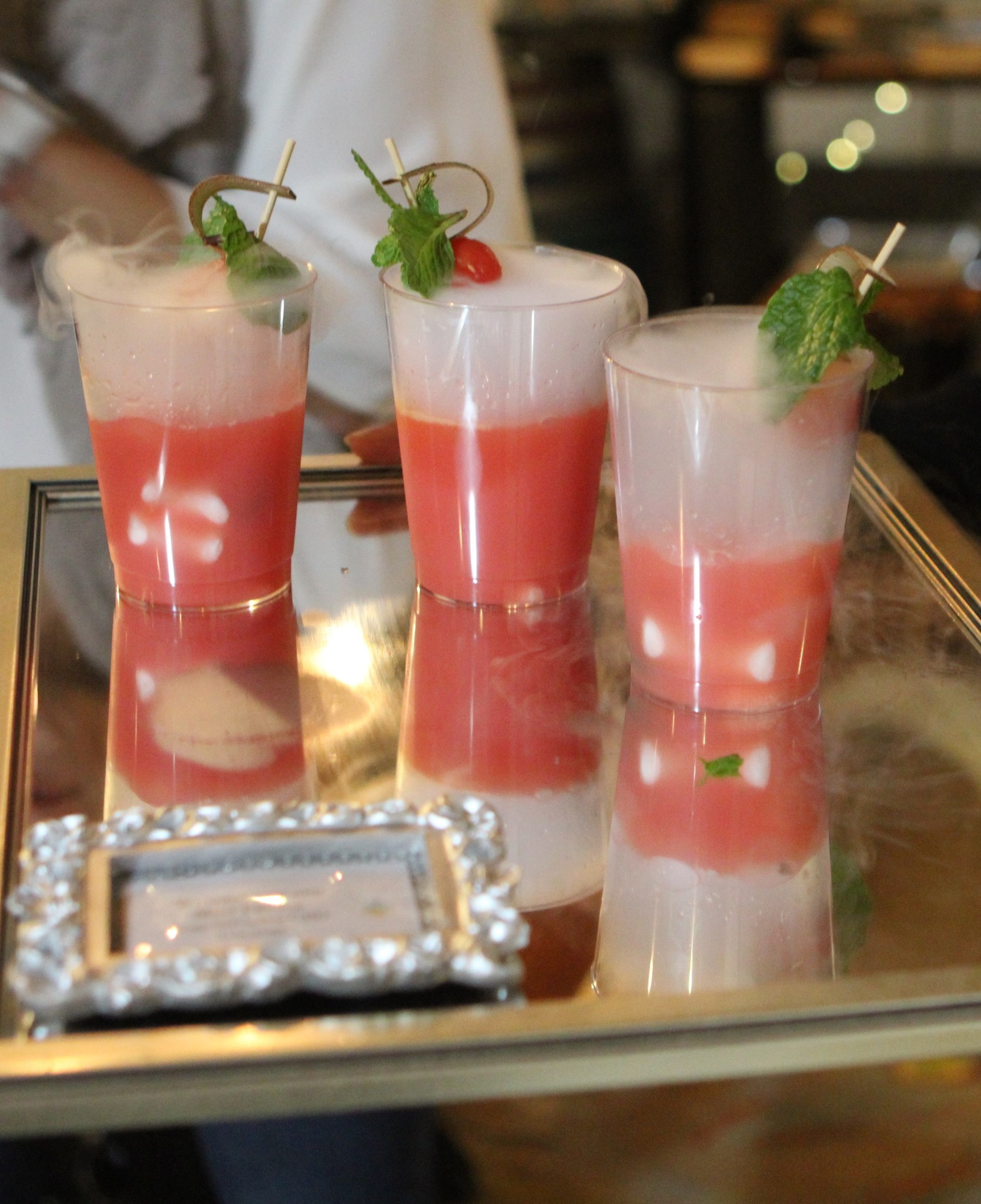 A server offers Watermelon Fresca with Mint, which contains 10 mg CBD per cup.