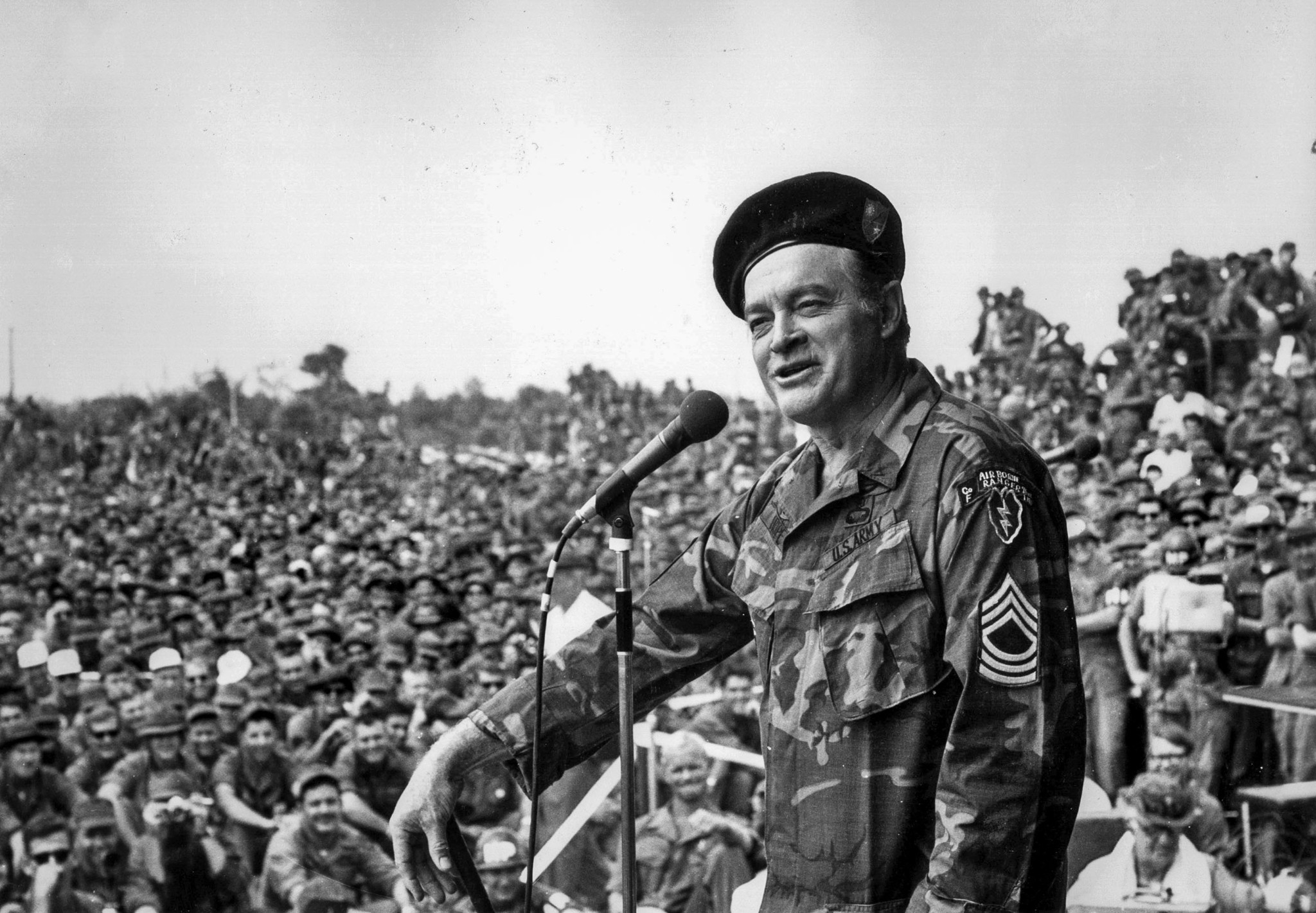 December 1971: Bob Hope entertains troops at Cu Chi, 20 miles northeast of Saigon.