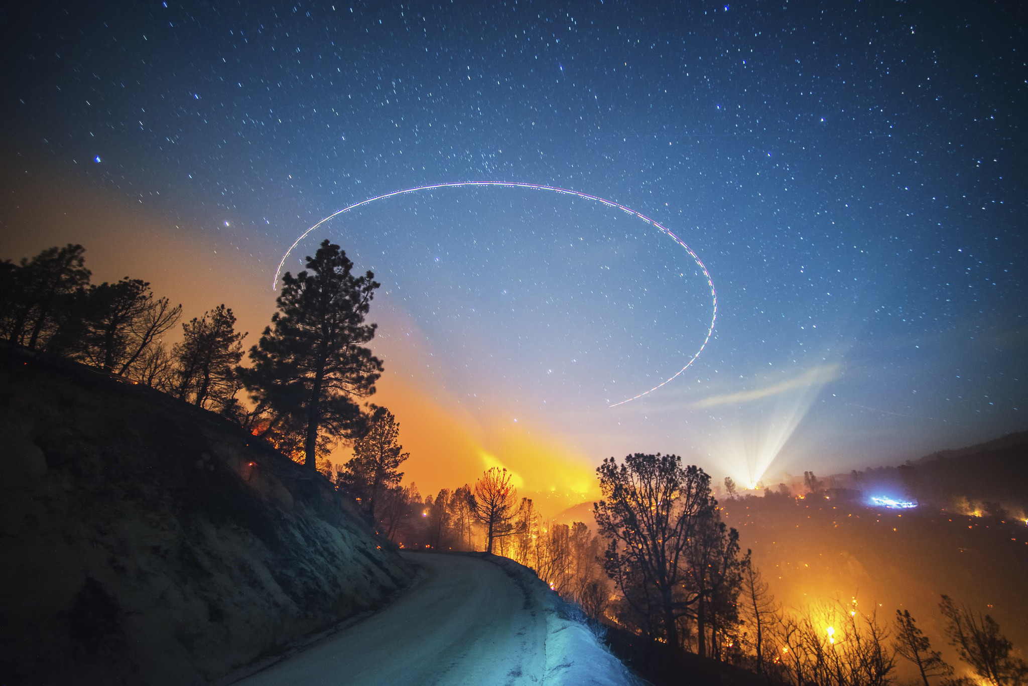 "California's Shirley fire, ""Terra Flamma: Wildfire at Night"" by Stuart Palley"