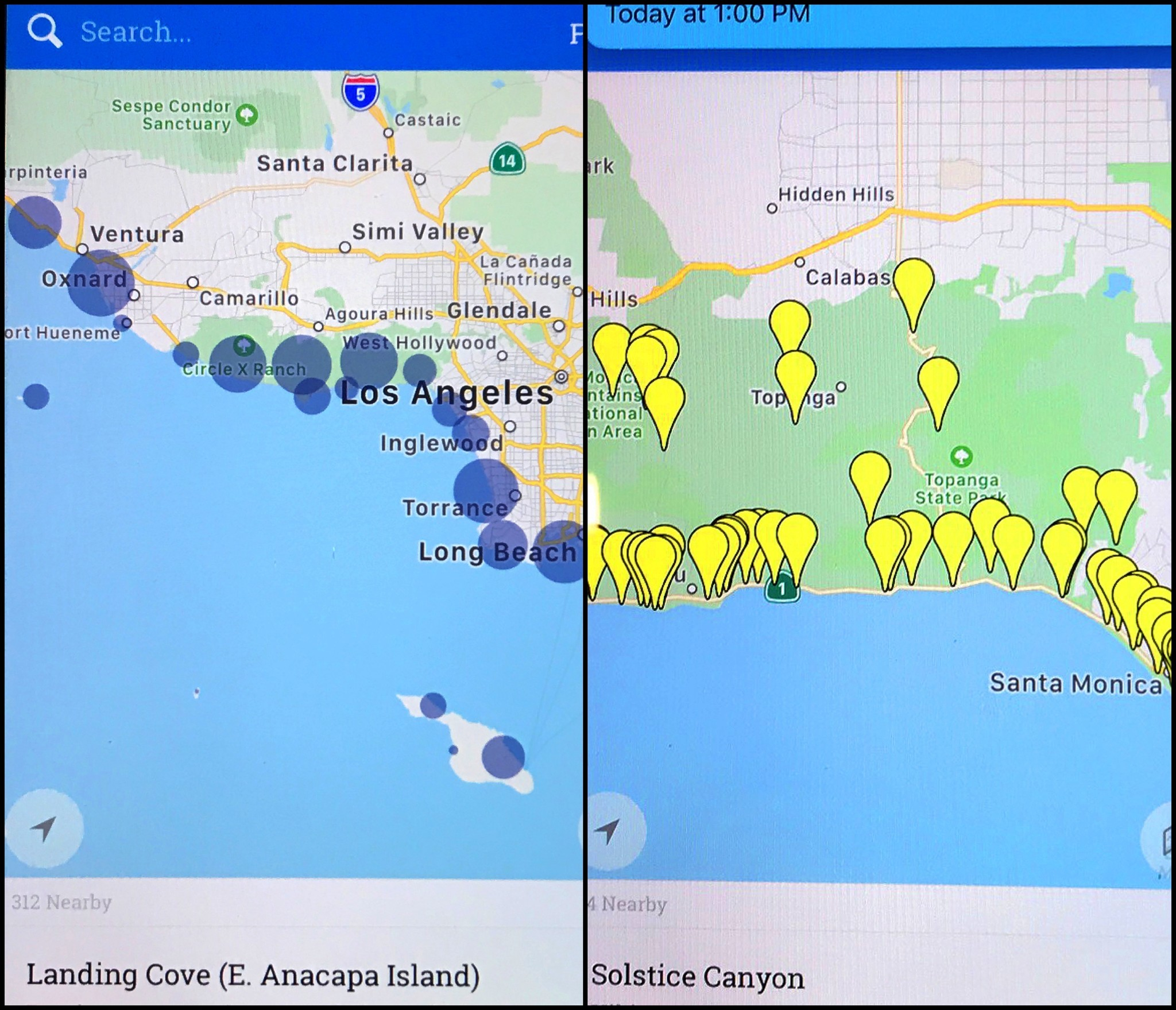 The app shows users a map of 1,563 public access points that the commission tracks along the California coast.