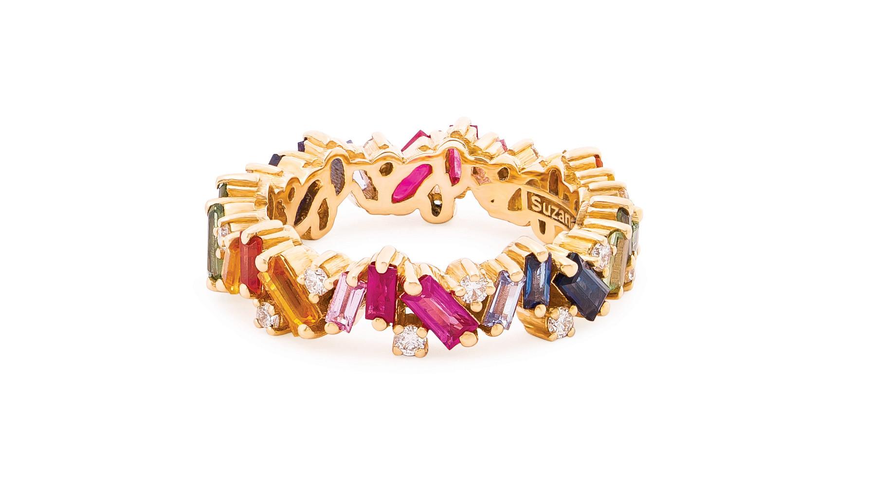 Suzanne Kalan 18-karat yellow gold Rainbow Eternity Band with 2.1 carats of rainbow sapphire baguett
