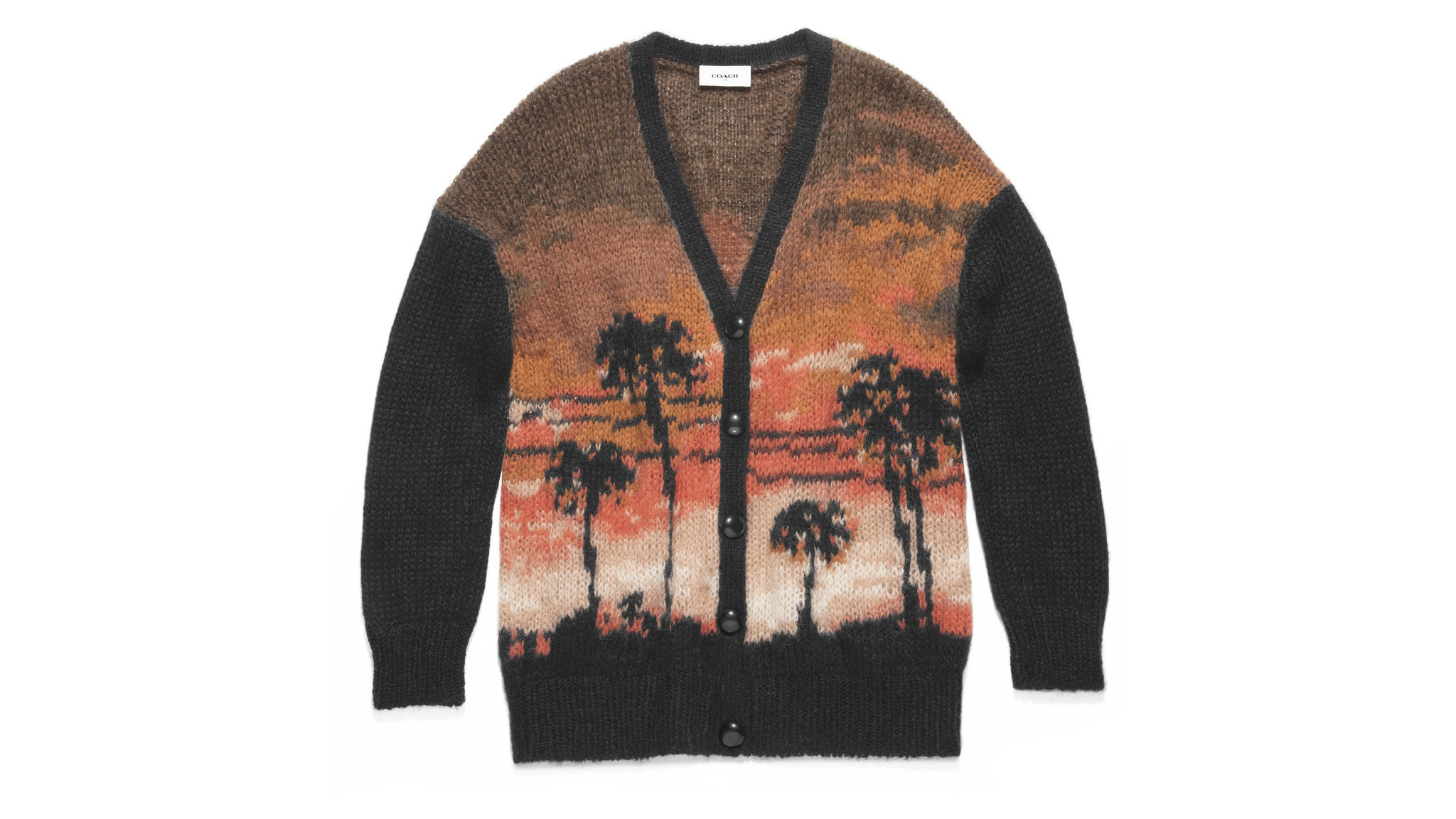 Coach women's mohair-blend Palm Tree Intarsia Cardigan $550 at Coach in Beverly Hills, coach.com