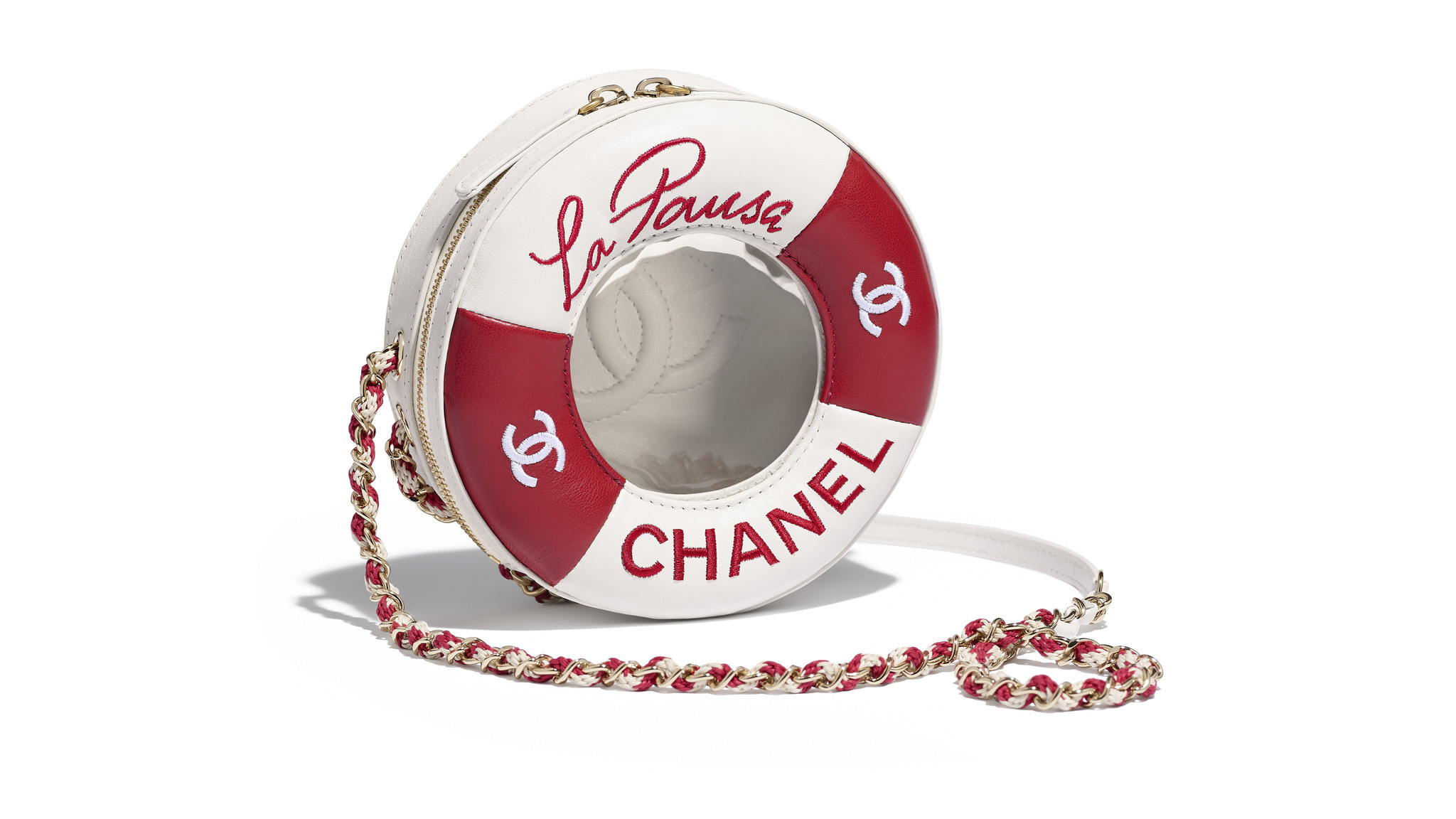 Chanel lambskin life preserver-inspired handbag with gold-tone chainlink strap, $4500 at Chanel in B