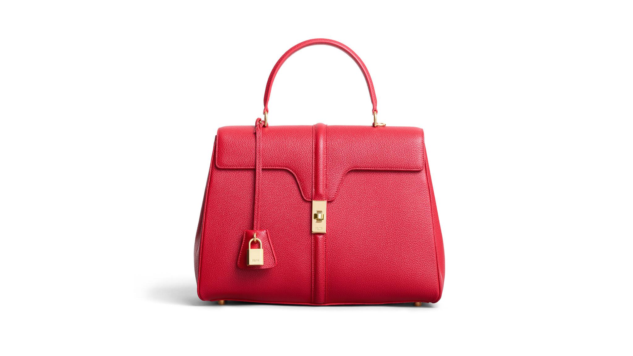 Celine medium 16 handbag in grained calfskin with removable shoulder strap, brass twistlock closure