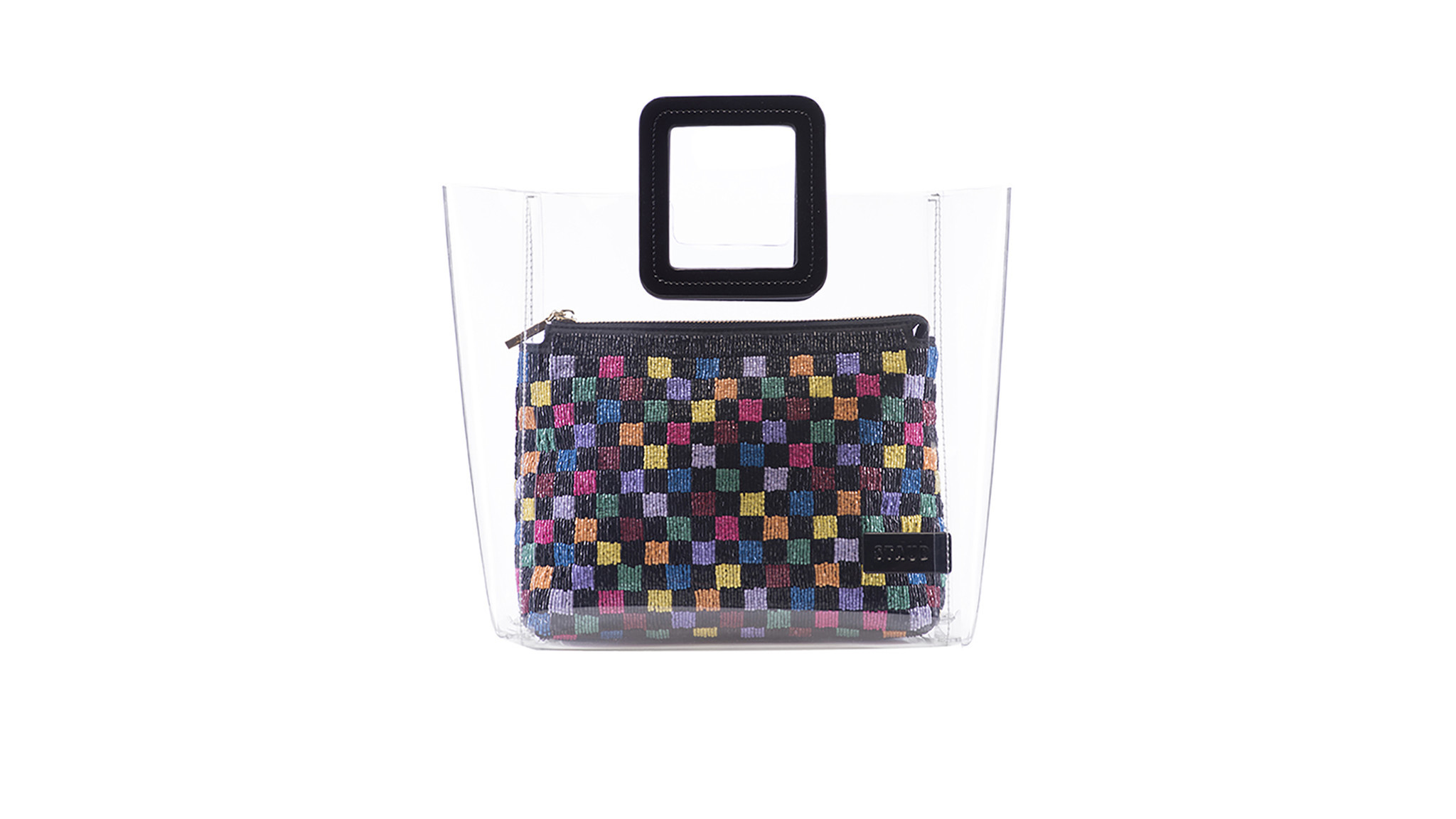 Staud made-in-L.A. PVC Shirley tote bag with removable beaded clutch inside, $250 at www.staud.cloth
