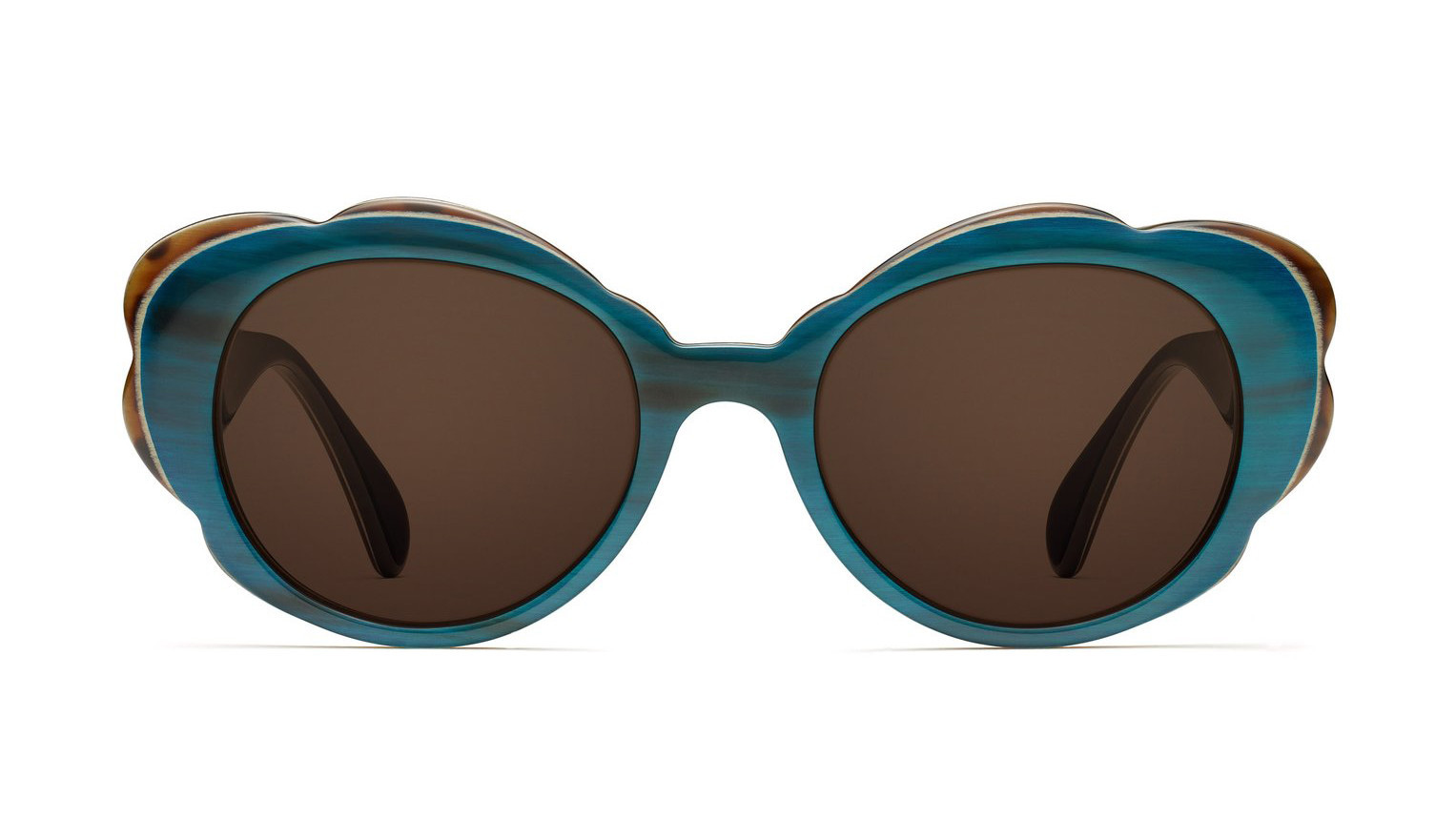 Morgenthal Frederics handcrafted, laminated teal and spotty tortoise buffalo horn Rosemary sunglasse
