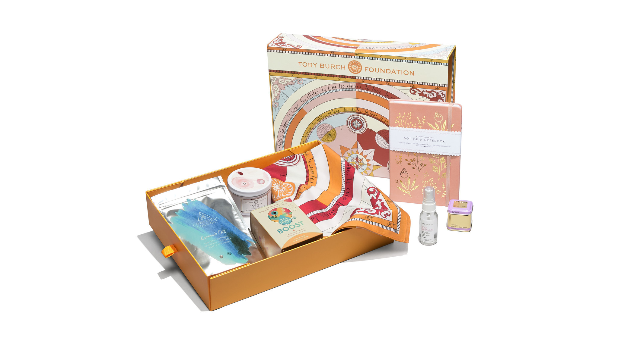 Tory Burch Foundation Seed Box contains a silk scarf, shea butter, facial tonic, tea sprinkles, a ca