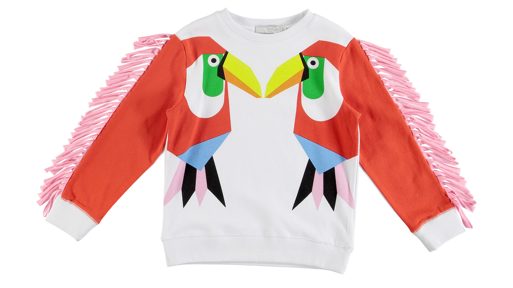 Stella McCartney girls toucan-print sweater with fleece fringe.