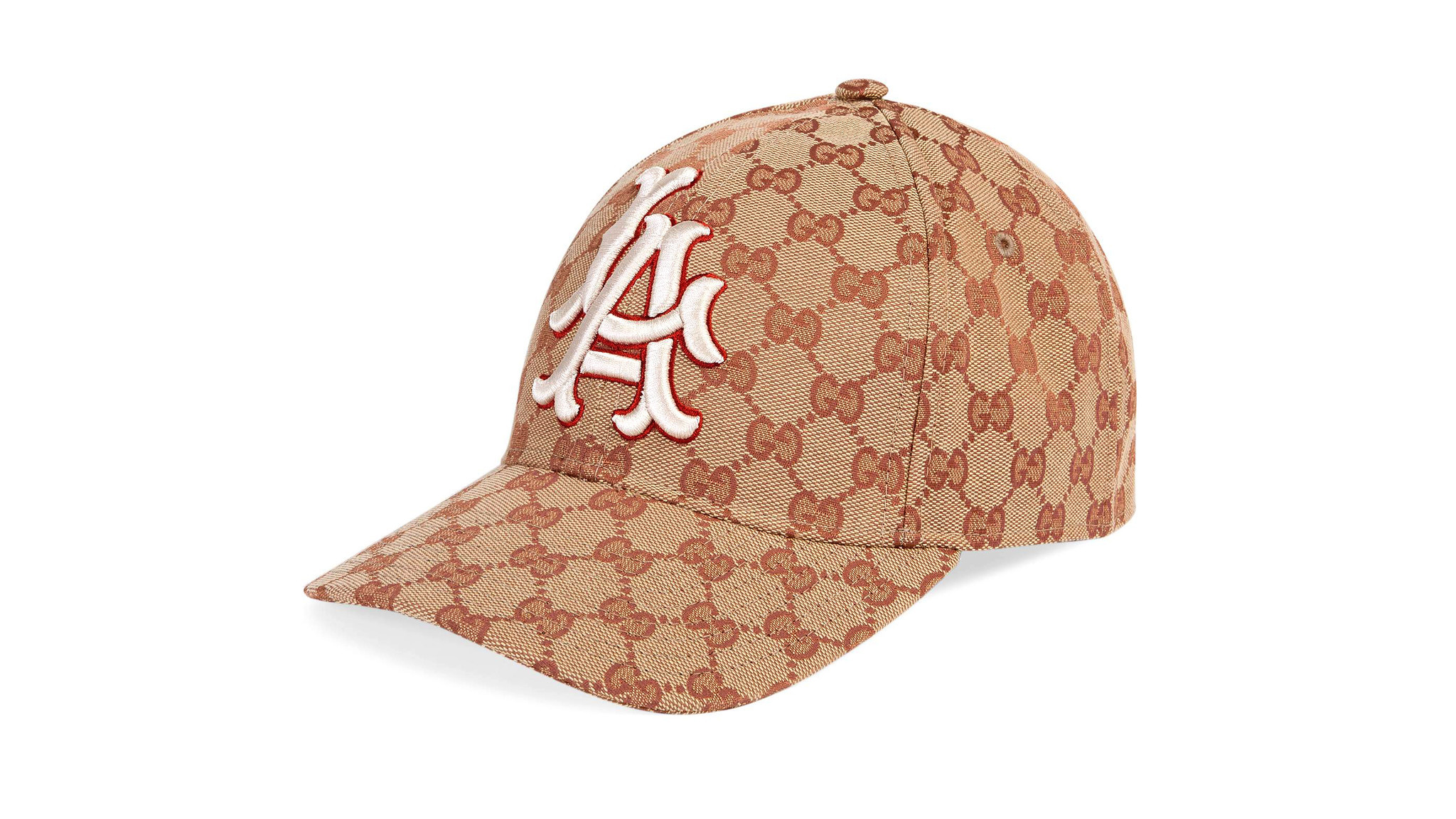 Gucci canvas logo baseball hat with LA Angels patch, $530 at Gucci boutiques in Beverly Hills and Be