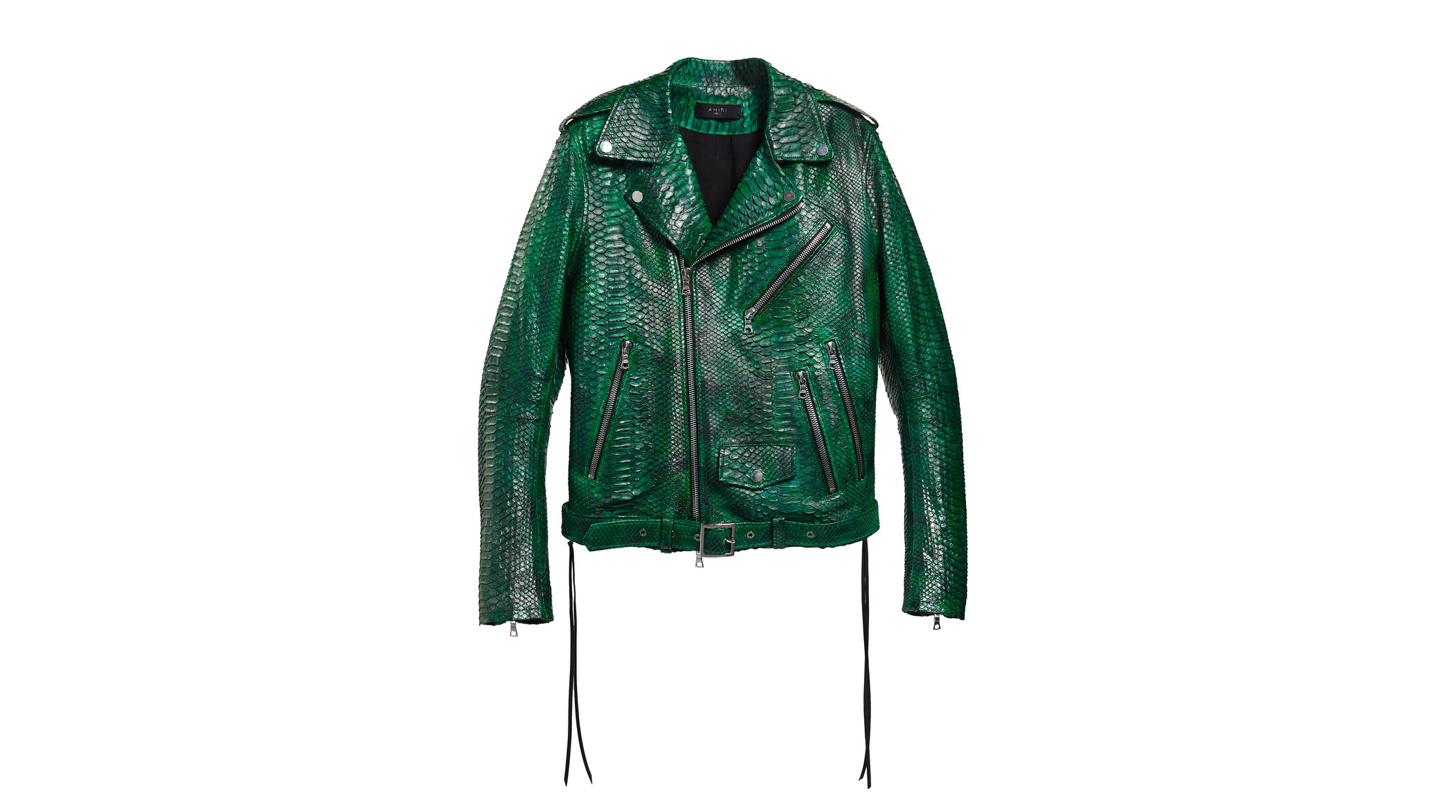 Amiri green hand-dyed snakeskin moto jacket made in L.A., $12,000 at barneys.com.