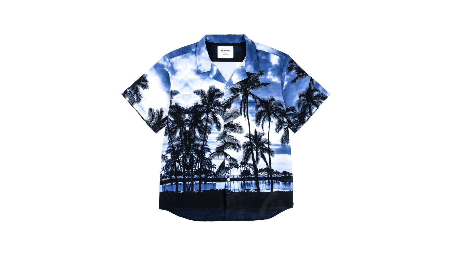 Noon Goons men's palm-print Royal Hawaiian button-front shirt, $289 at Dover Street Market Los Angel