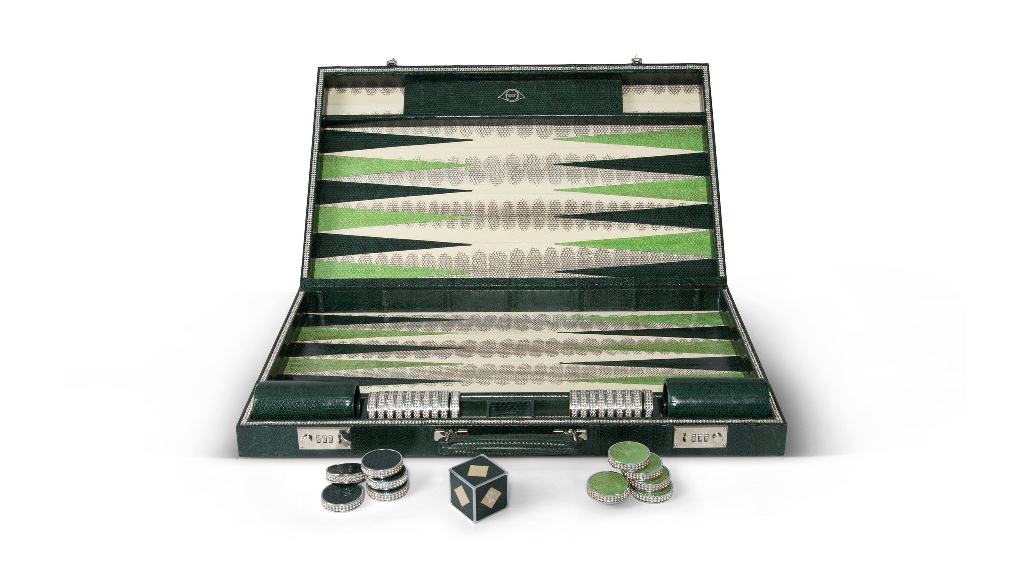 Geoffrey Parker watersnake backgammon set with Swarovski crystal detailing , $7,117 at Leclaireur in