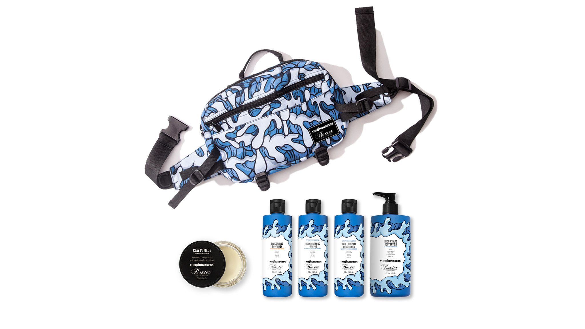 The Hundreds X Baxter of California limited-edition Waves grooming set with waist pack featuring art