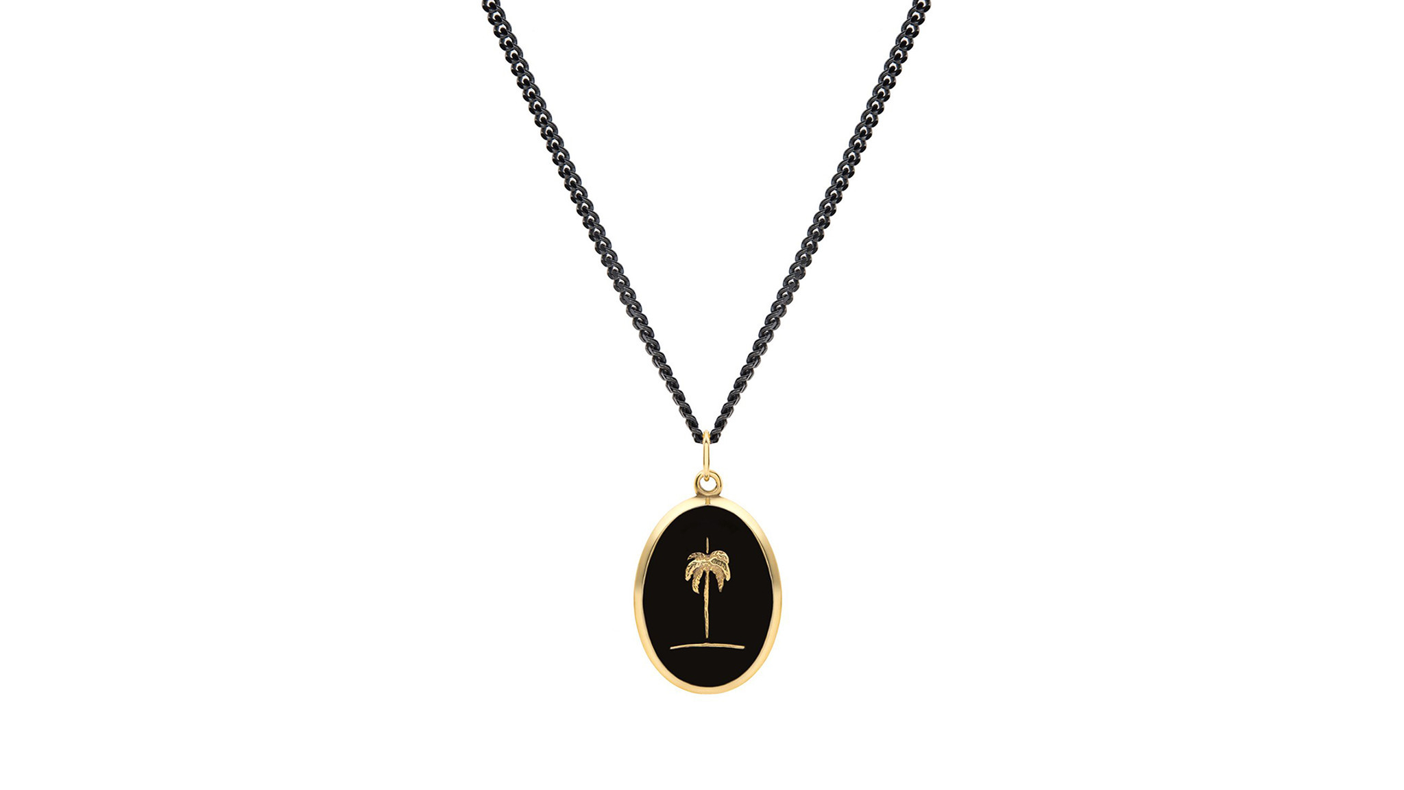 Miansai 14-karat yellow gold plated sterling silver and black enamel palm tree necklace on 24-inch c