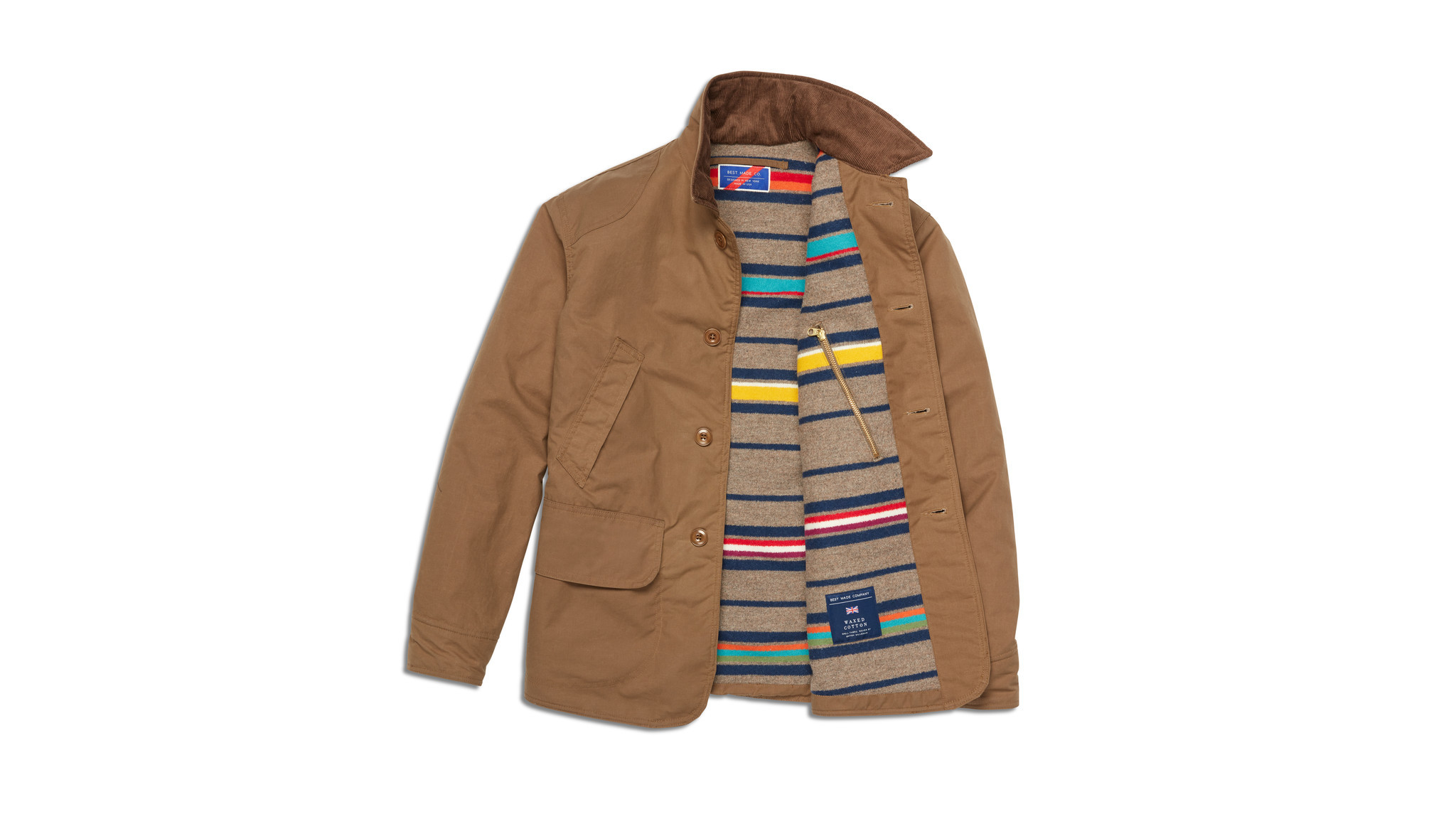Best Made Company waxed cotton Cruiser jacket with Pendleton Woolen Mills blanket lining, $598 at Be