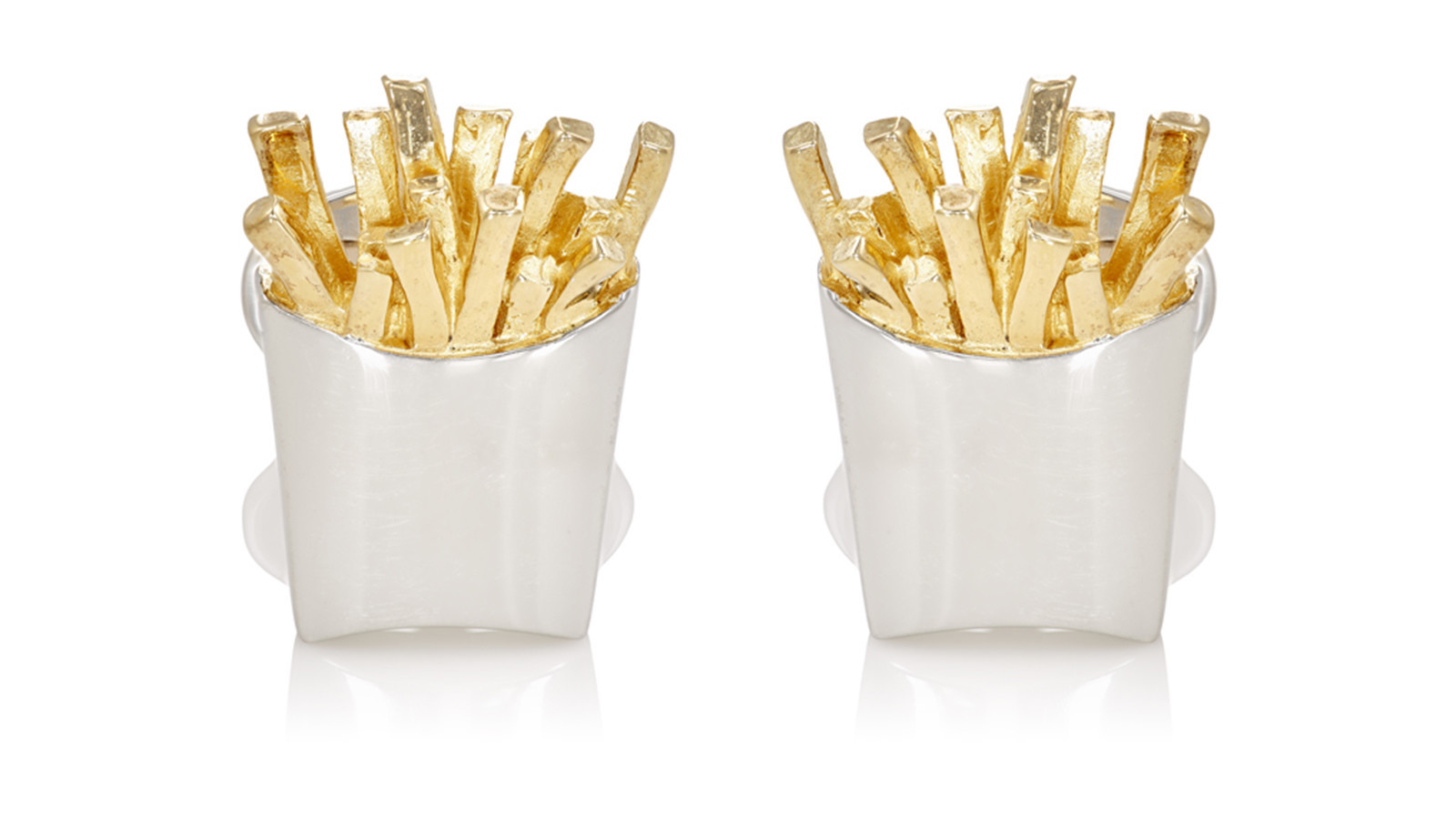 Jan Leslie handmade sterling silver and 24-karat yellow gold vermeil French fry cufflinks, $395 at B