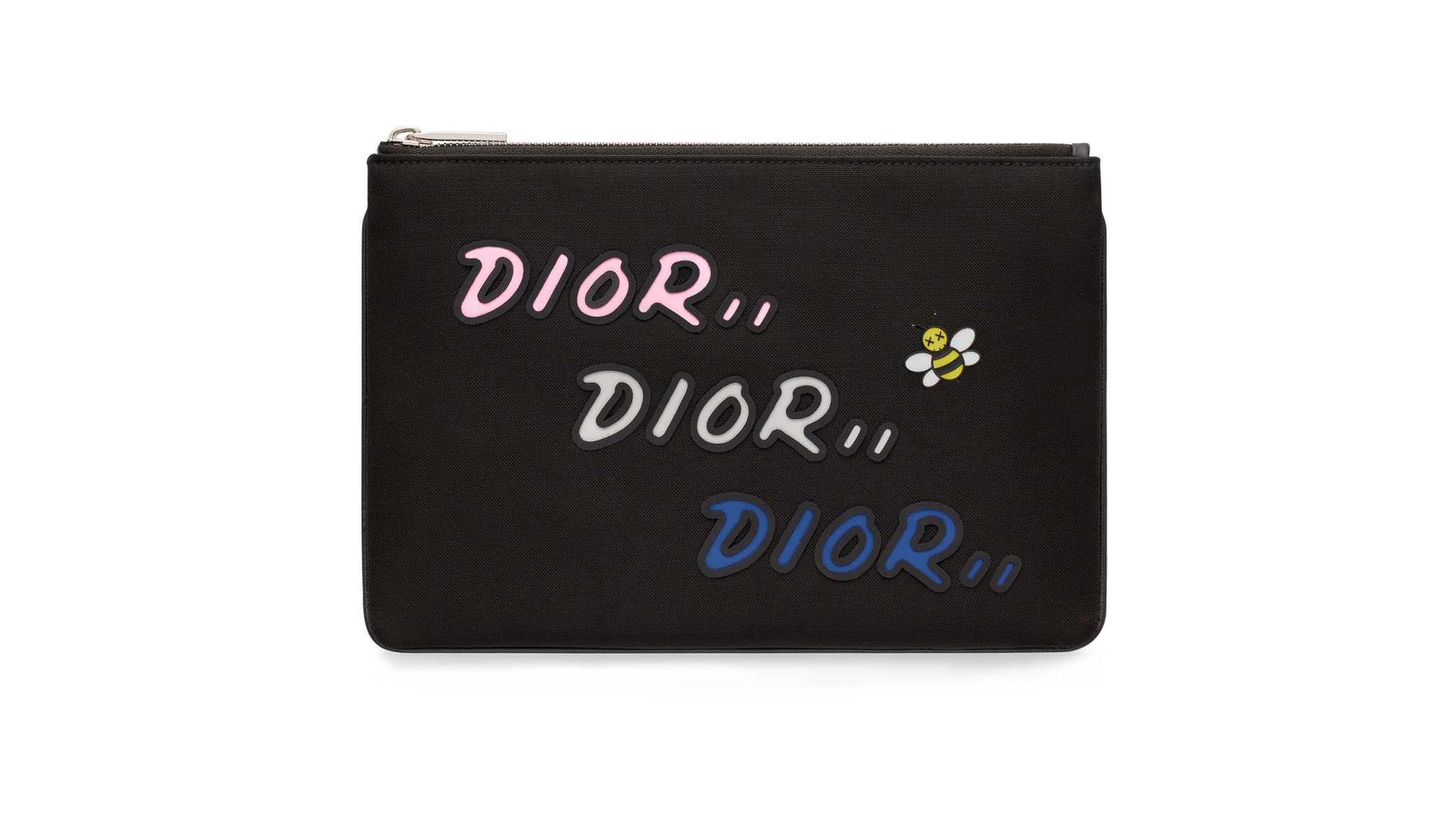 Dior Men KAWS leather zip pouch, $550 at Dior Men in Beverly Hills and Maxfield in West Hollywood